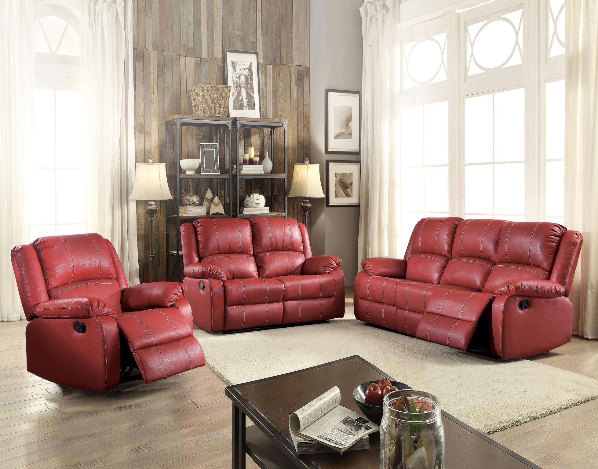Red Complete Motion Recliner Sofa Set