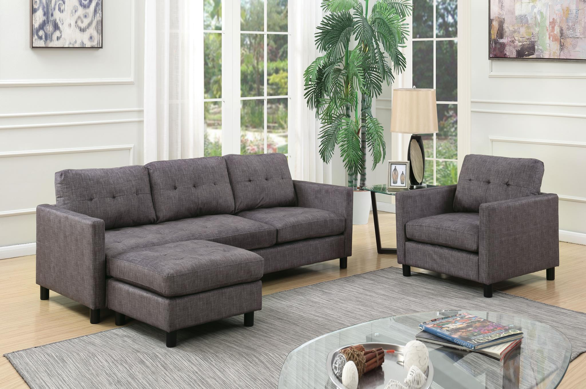 Convertible Sofa into Sectional w/ Left Facing Chaise and Chair