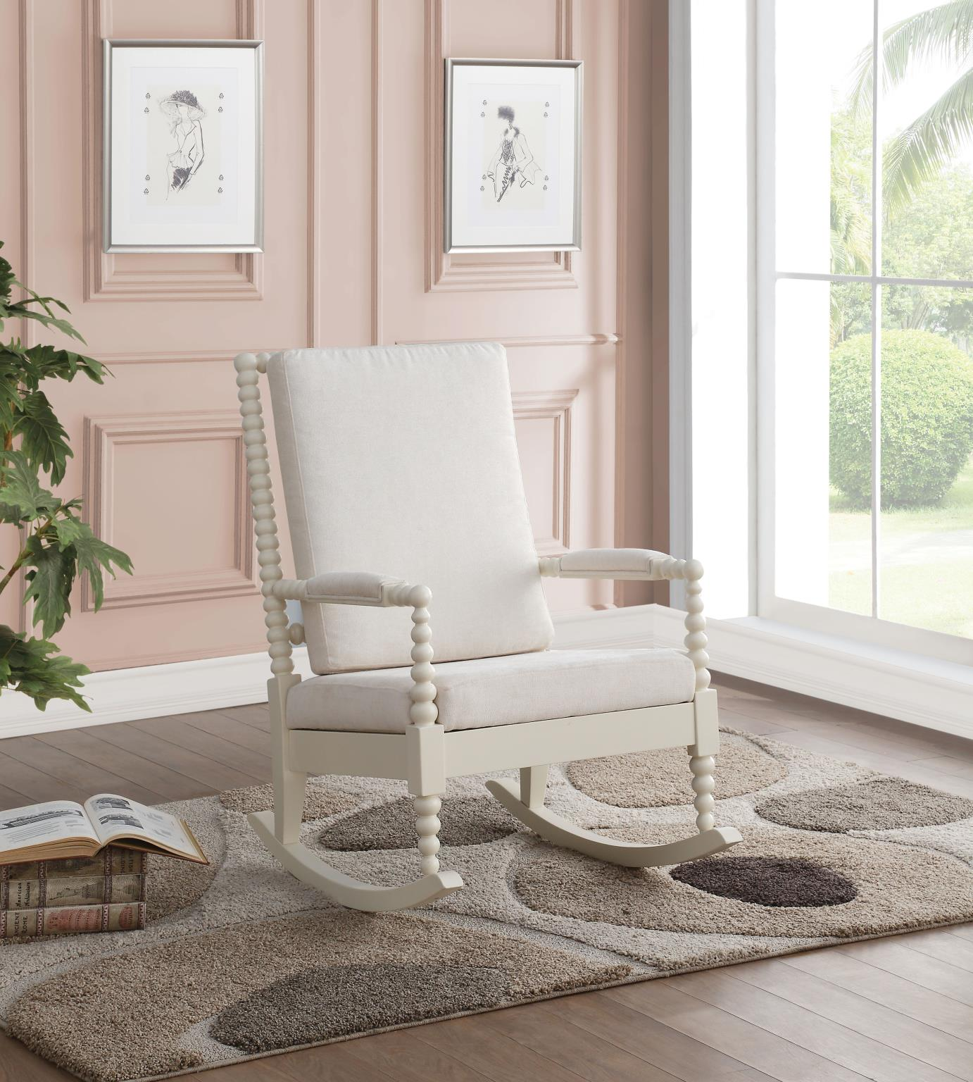 White & Cream Fabric Rocker Chair