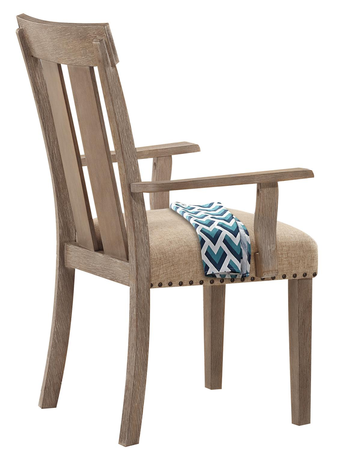 Slatted Back Arm Chair Back Angle