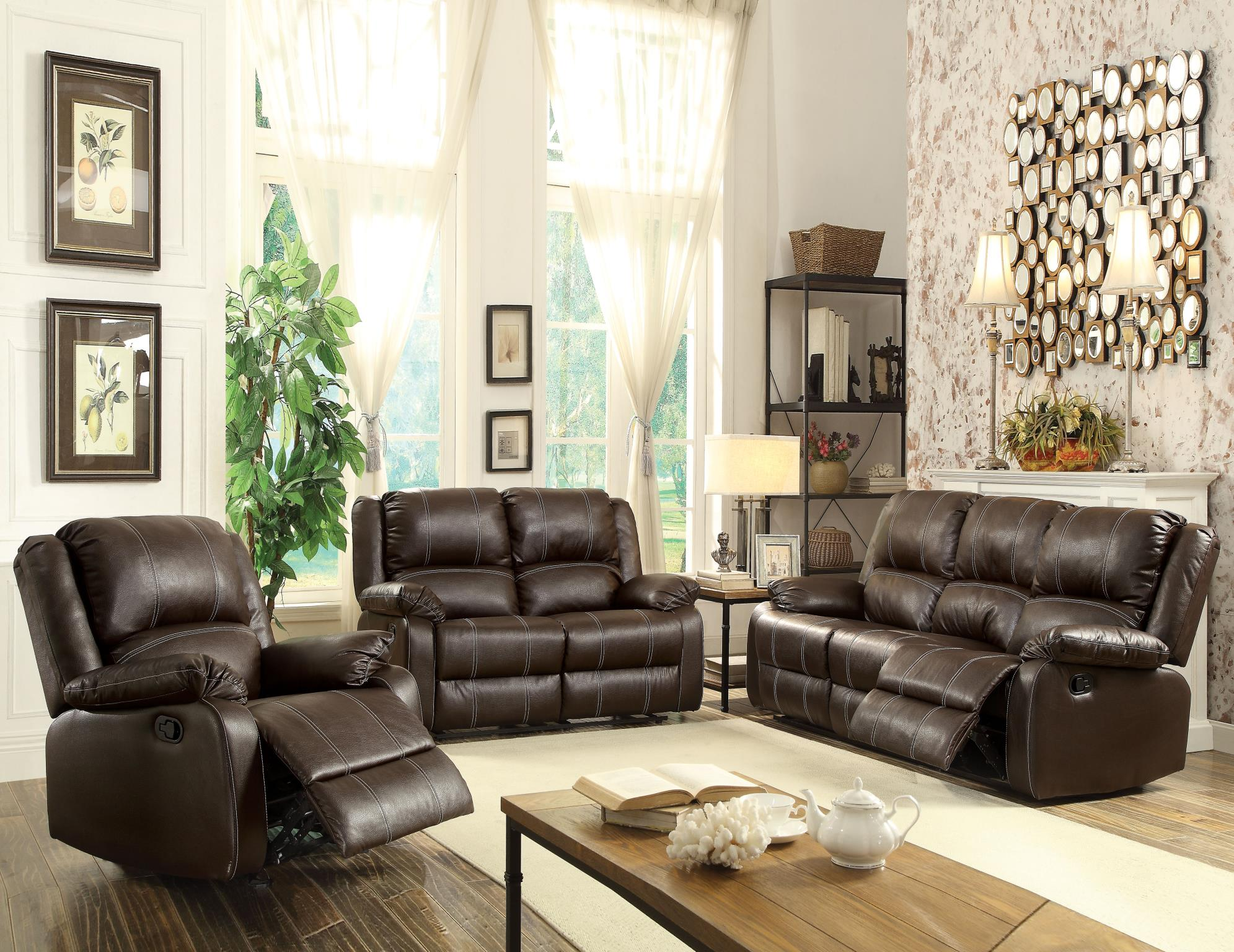 Brown Complete Motion Recliner Sofa Set
