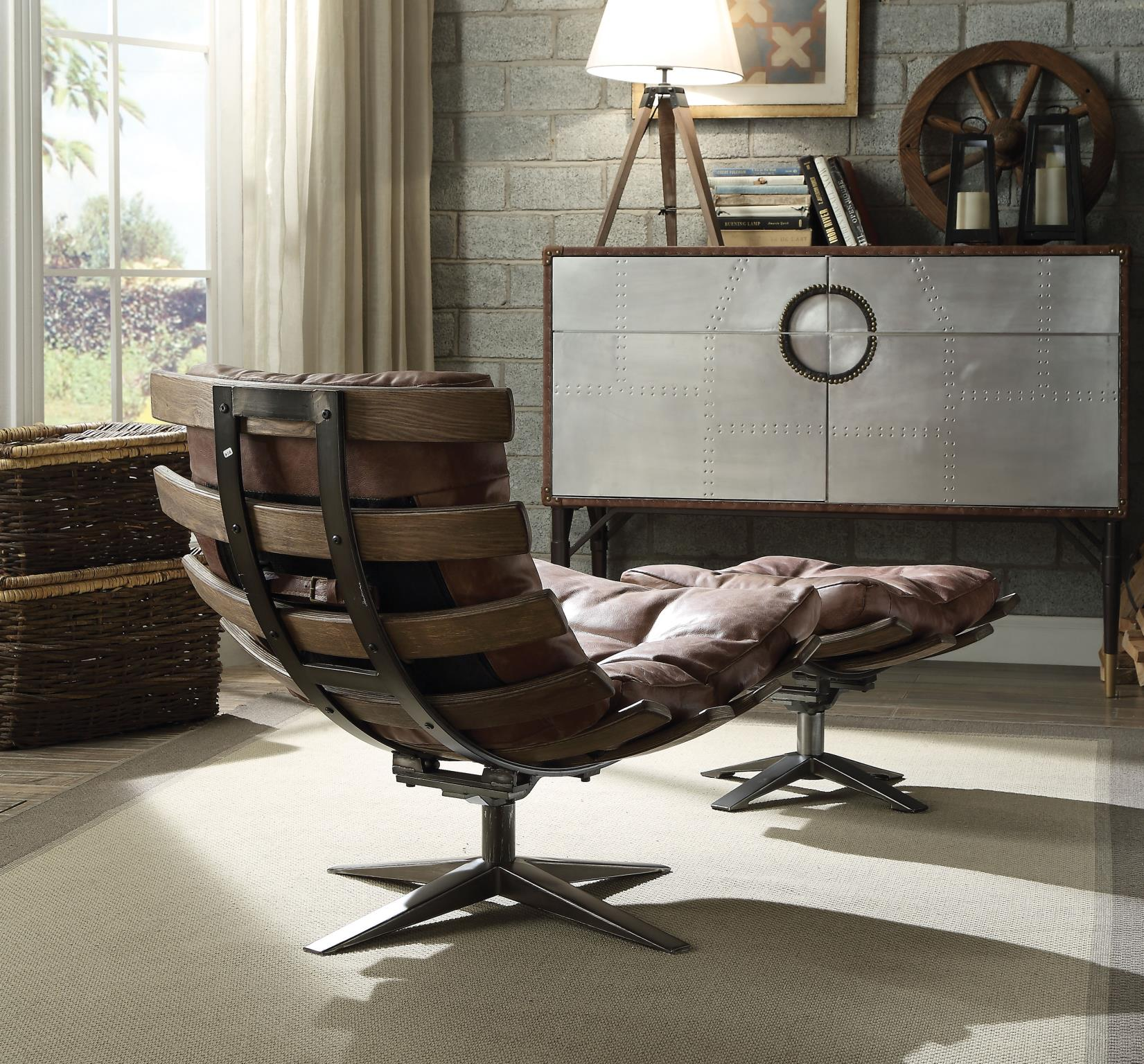 Brown Swivel Chair and Ottoman Back View