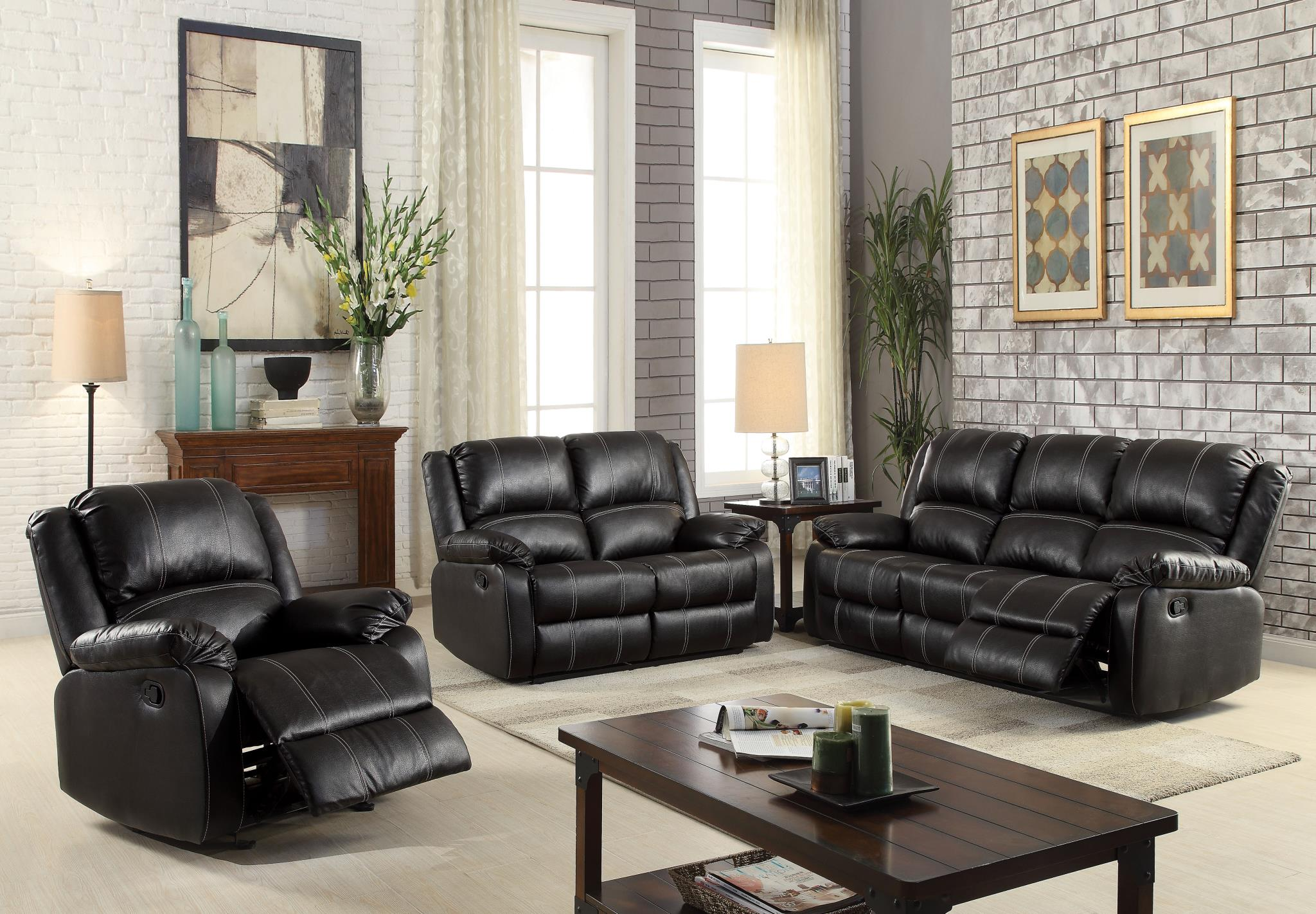 Black Complete Motion Recliner Sofa Set