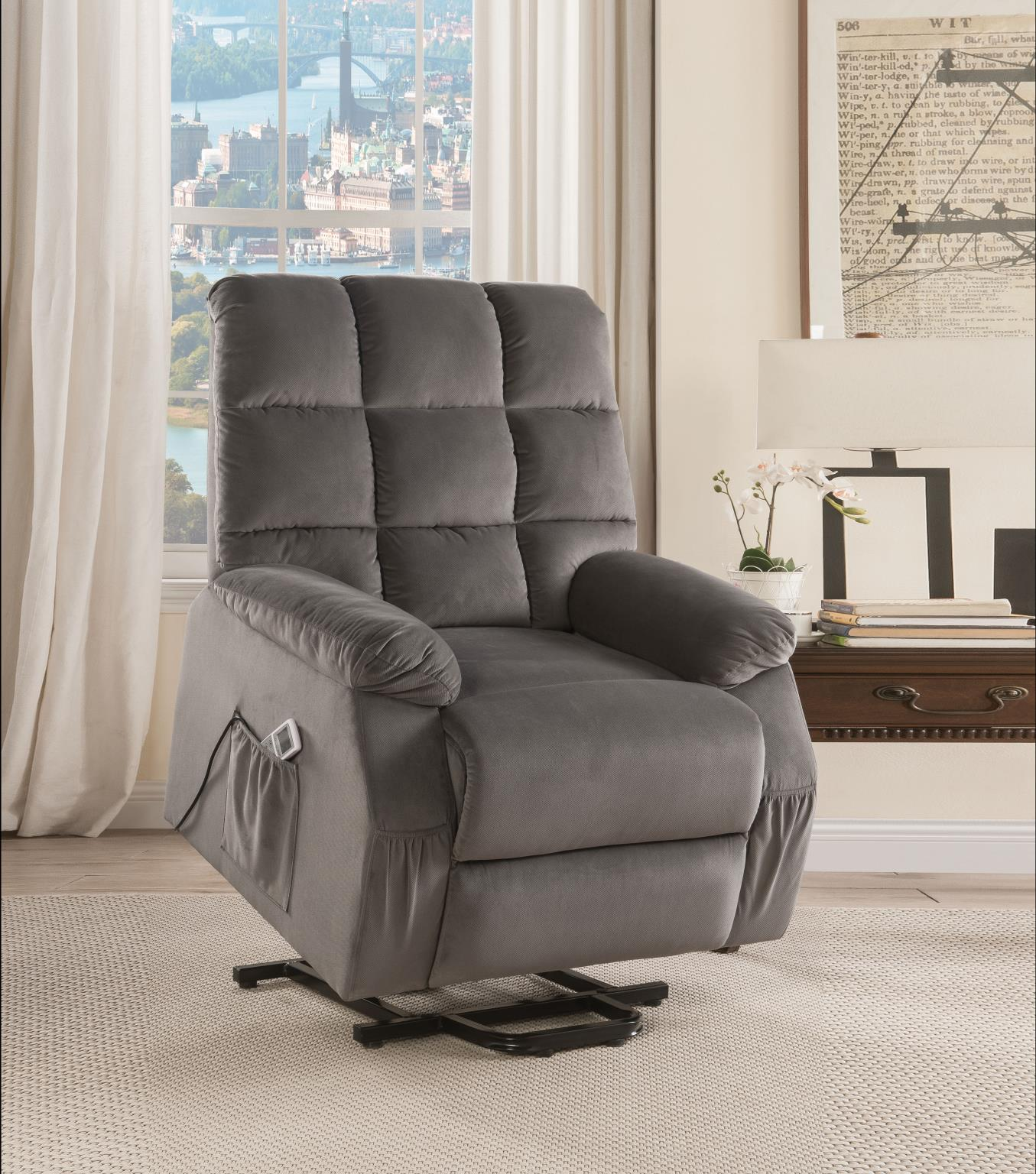 Gray Power Lift Recliner