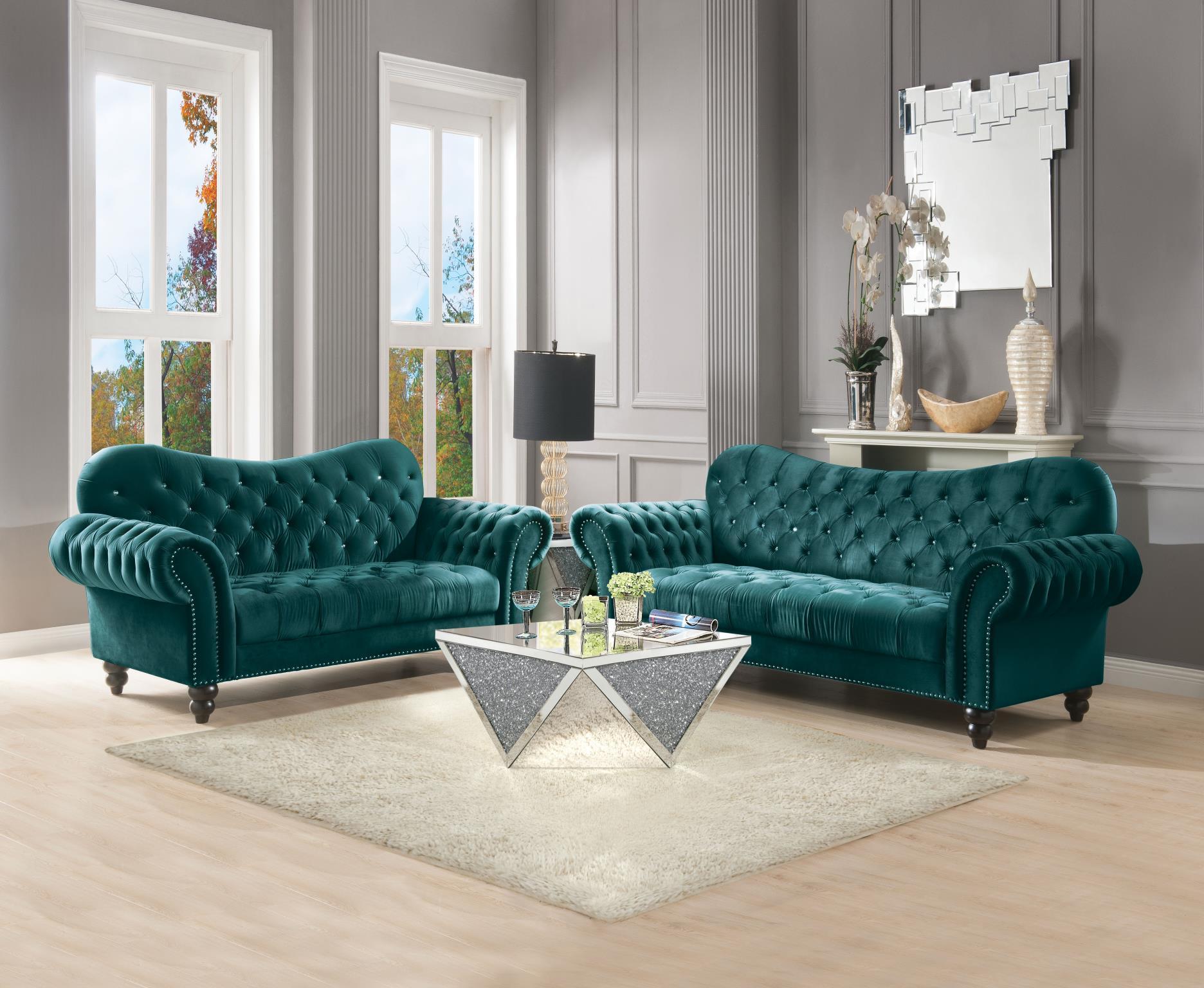 Green Velvet Complete Sofa Set