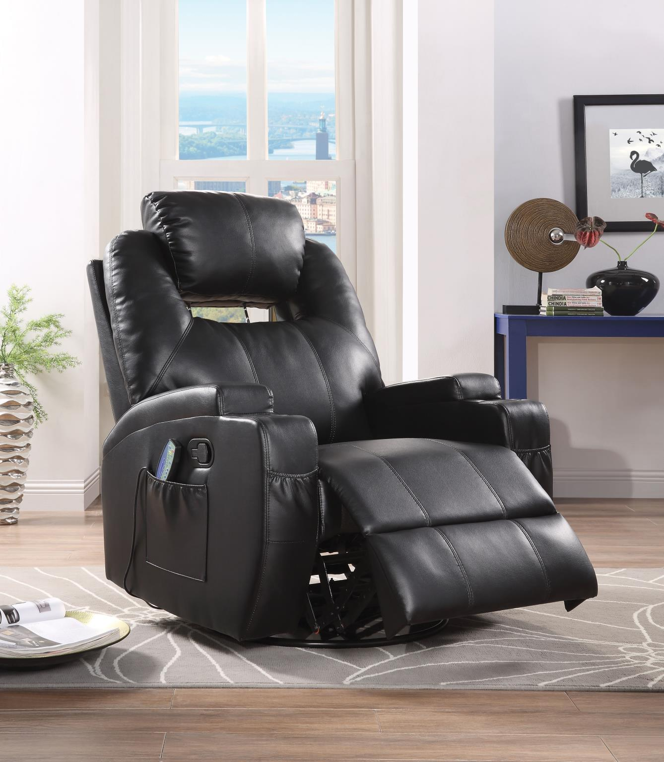 Black Recliner w/ Power Headrest
