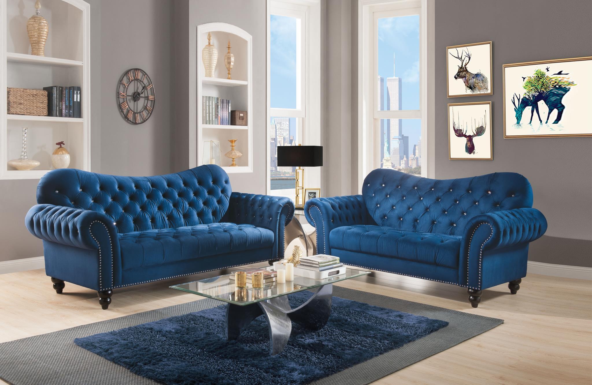 Navy Blue Velvet Complete Sofa Set