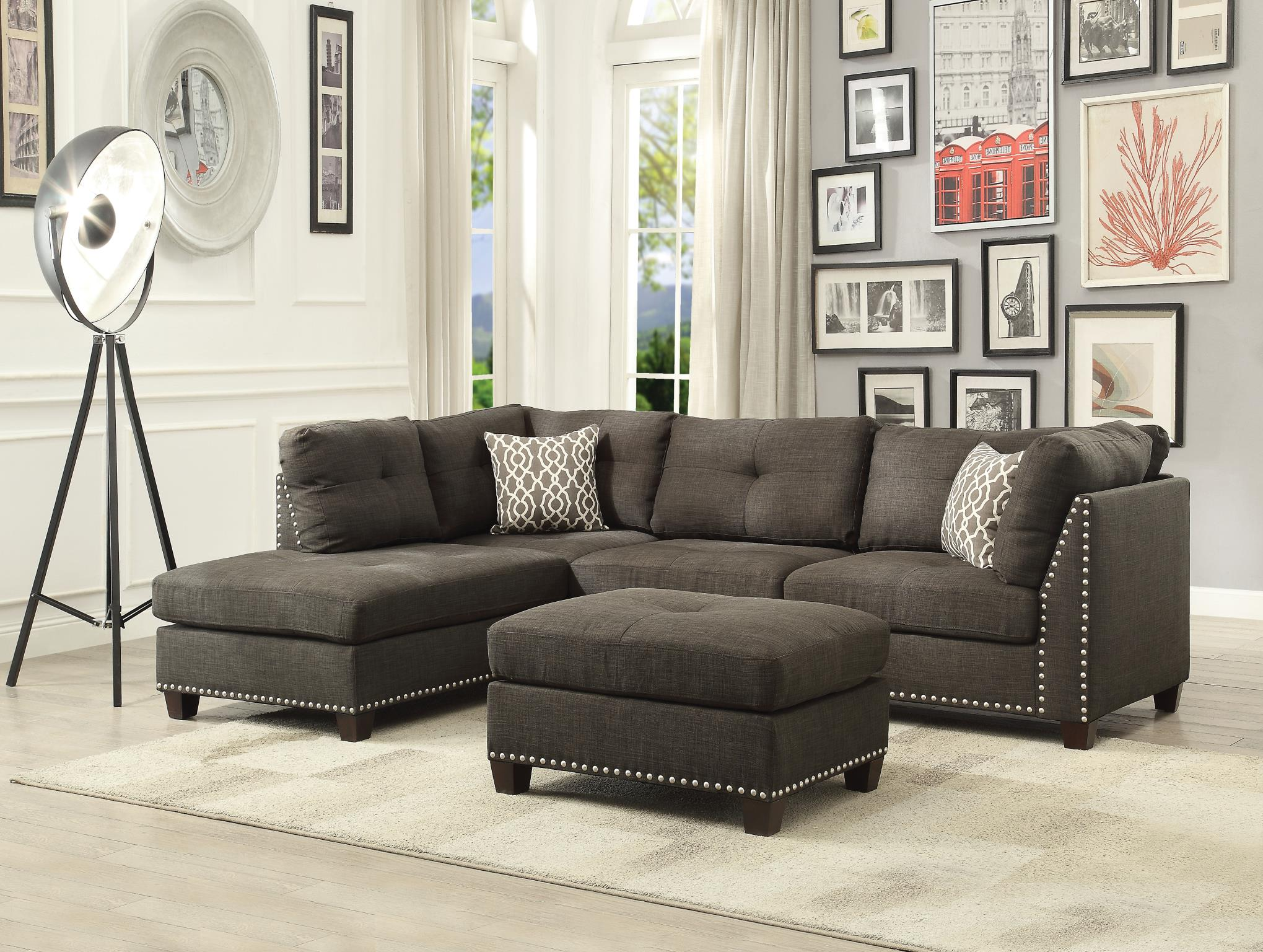 Complete Sectional Sofa w/ Left Facing Chaise and Ottoman
