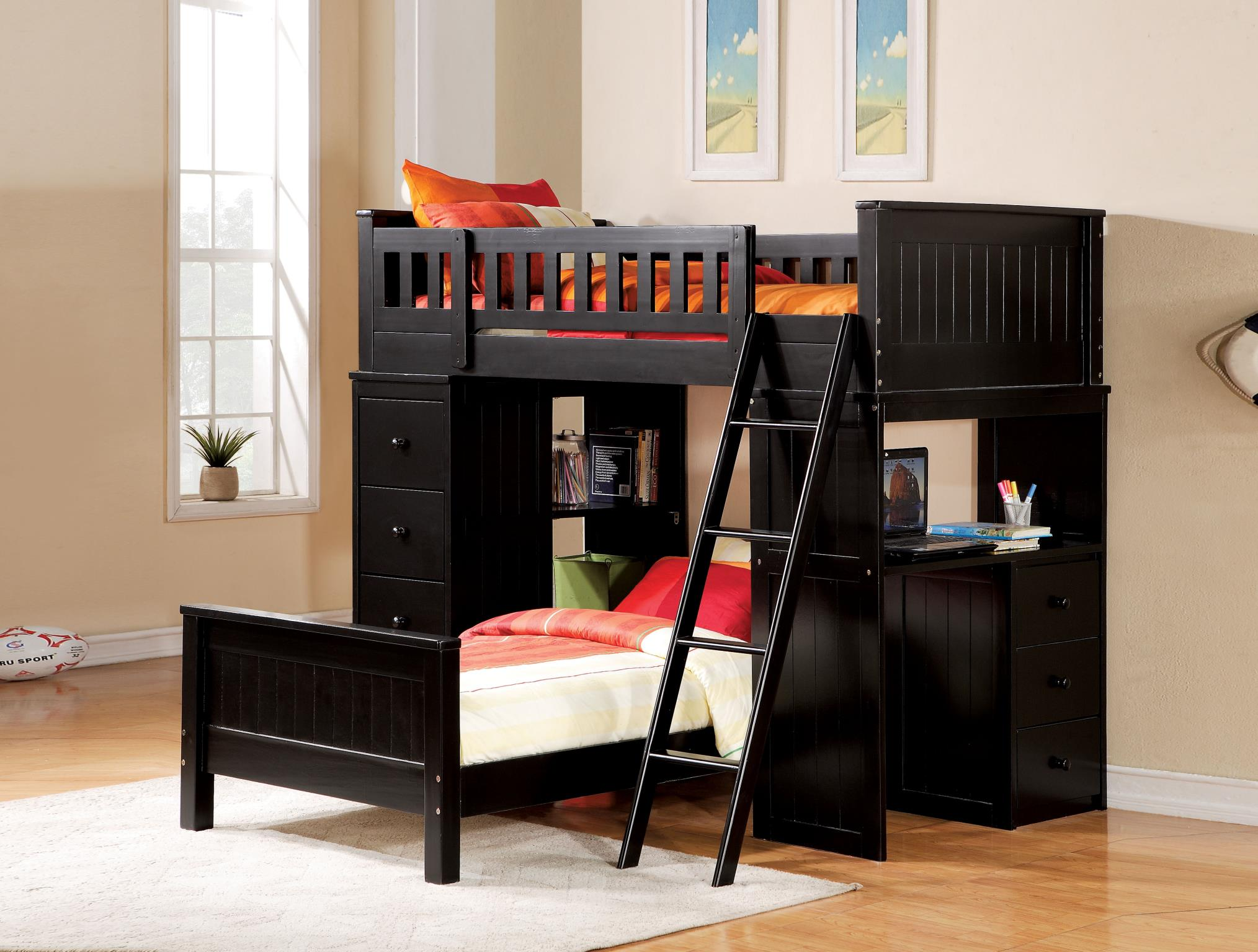 Black Complete Loft Bed Set