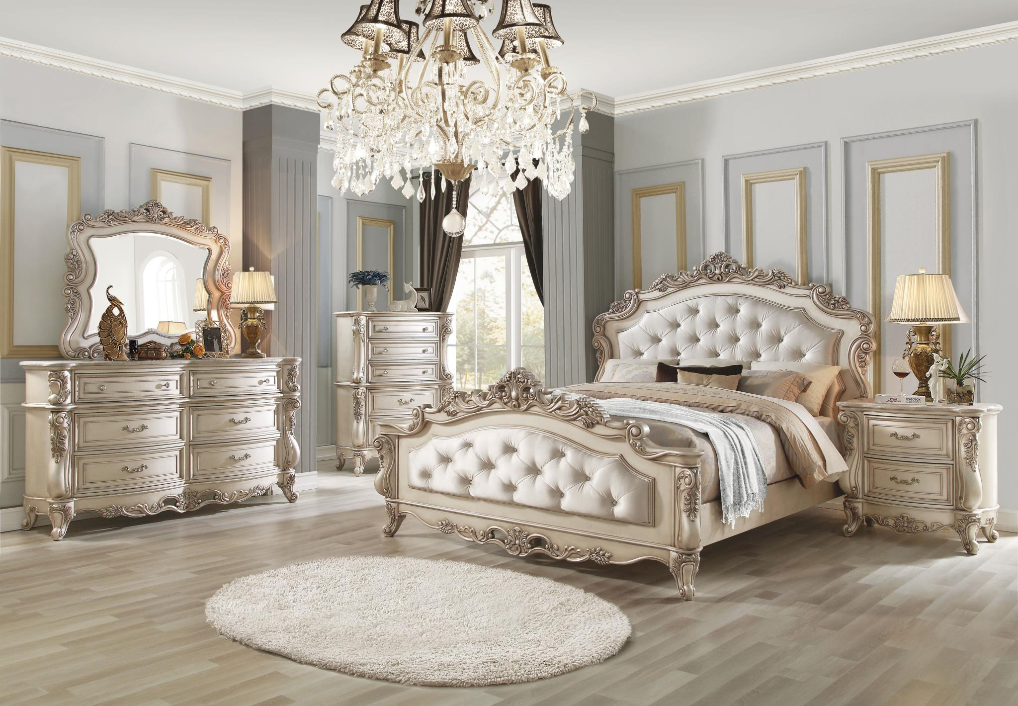 Gorsedd Antique White Bed With Button Tufted Headboard