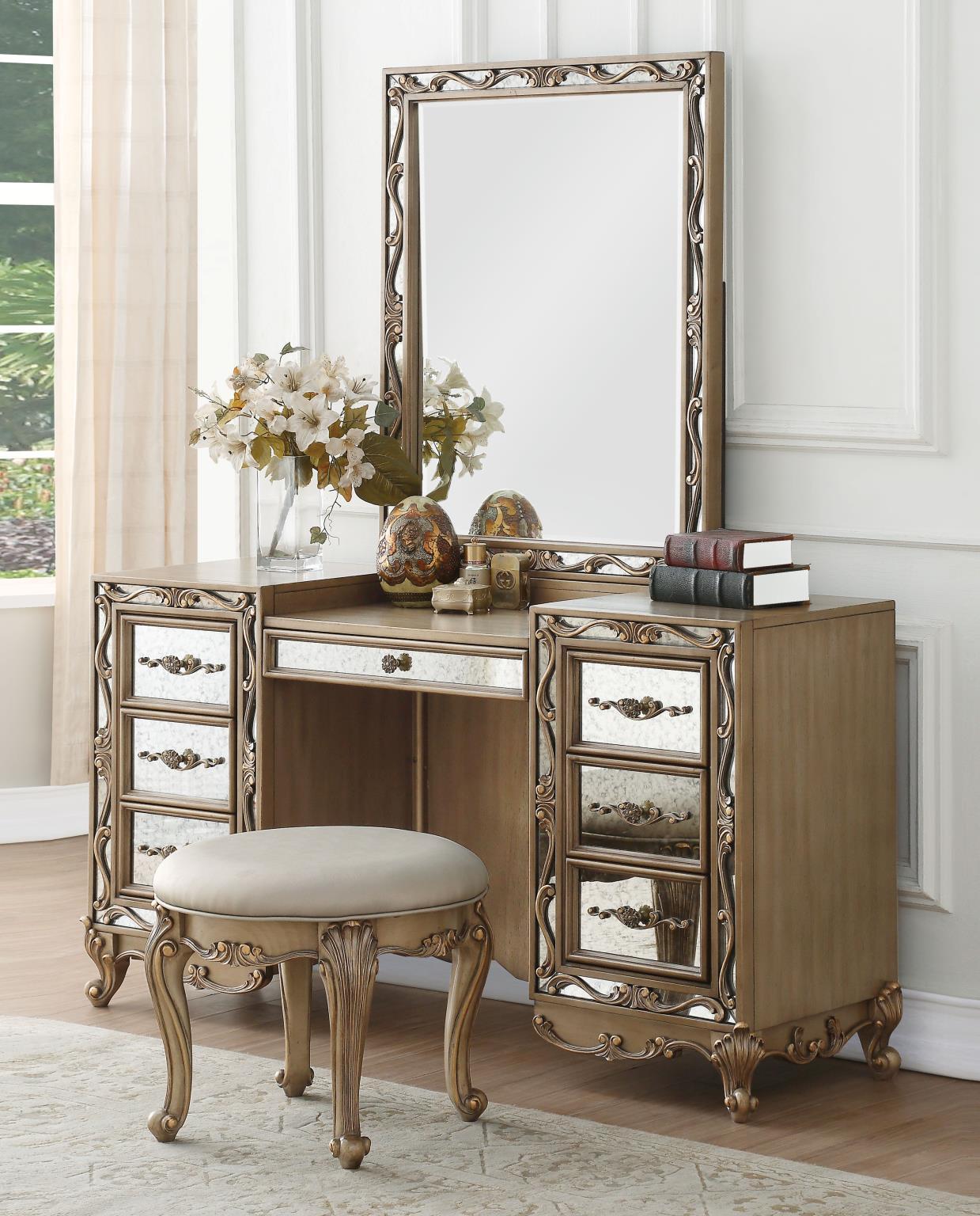 Orianne Antique Gold Vanity Desk