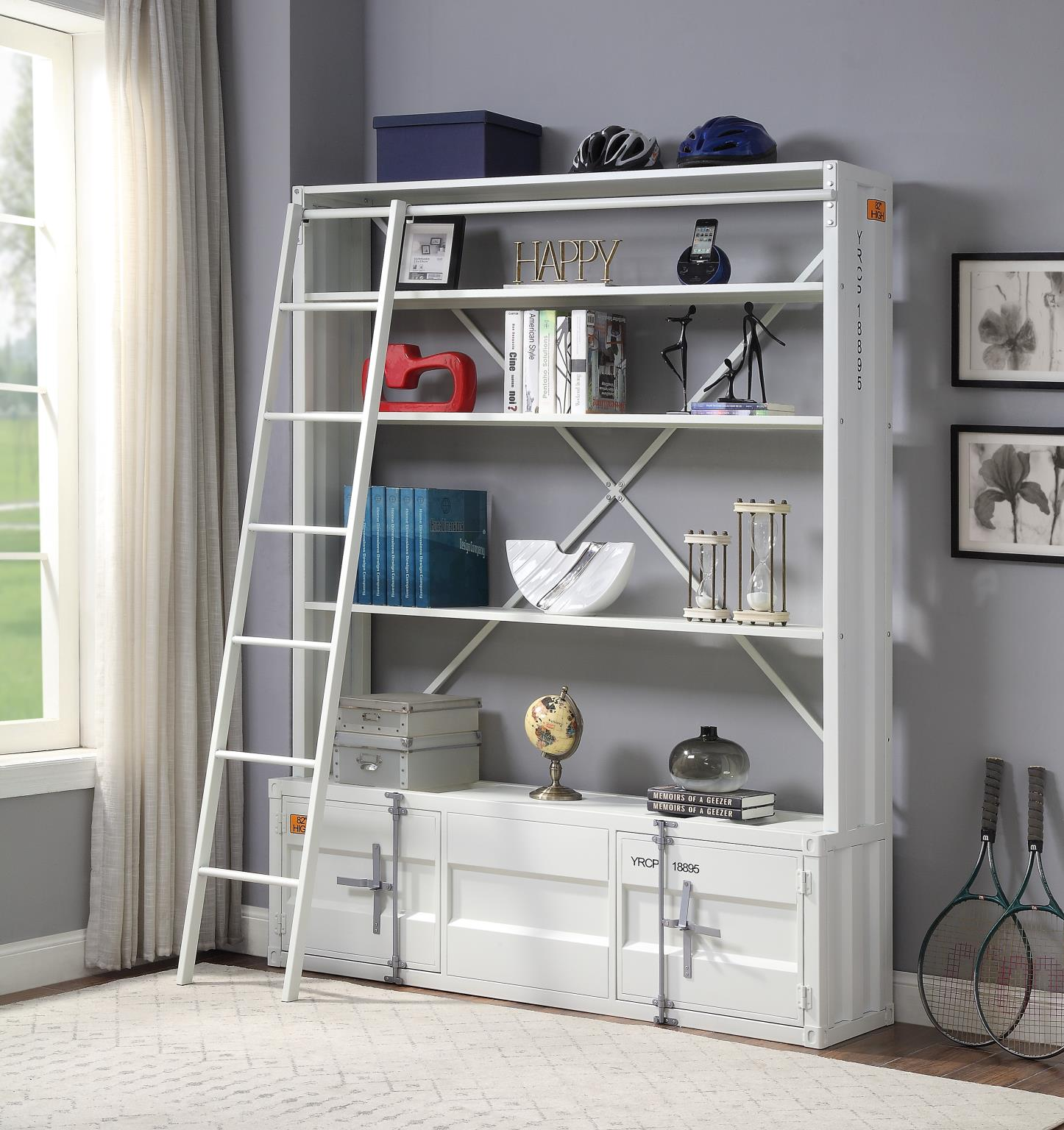 White Bookshelf w/ Ladder