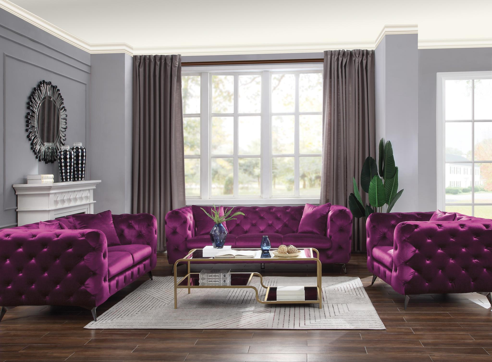 Purple Complete Sofa Set