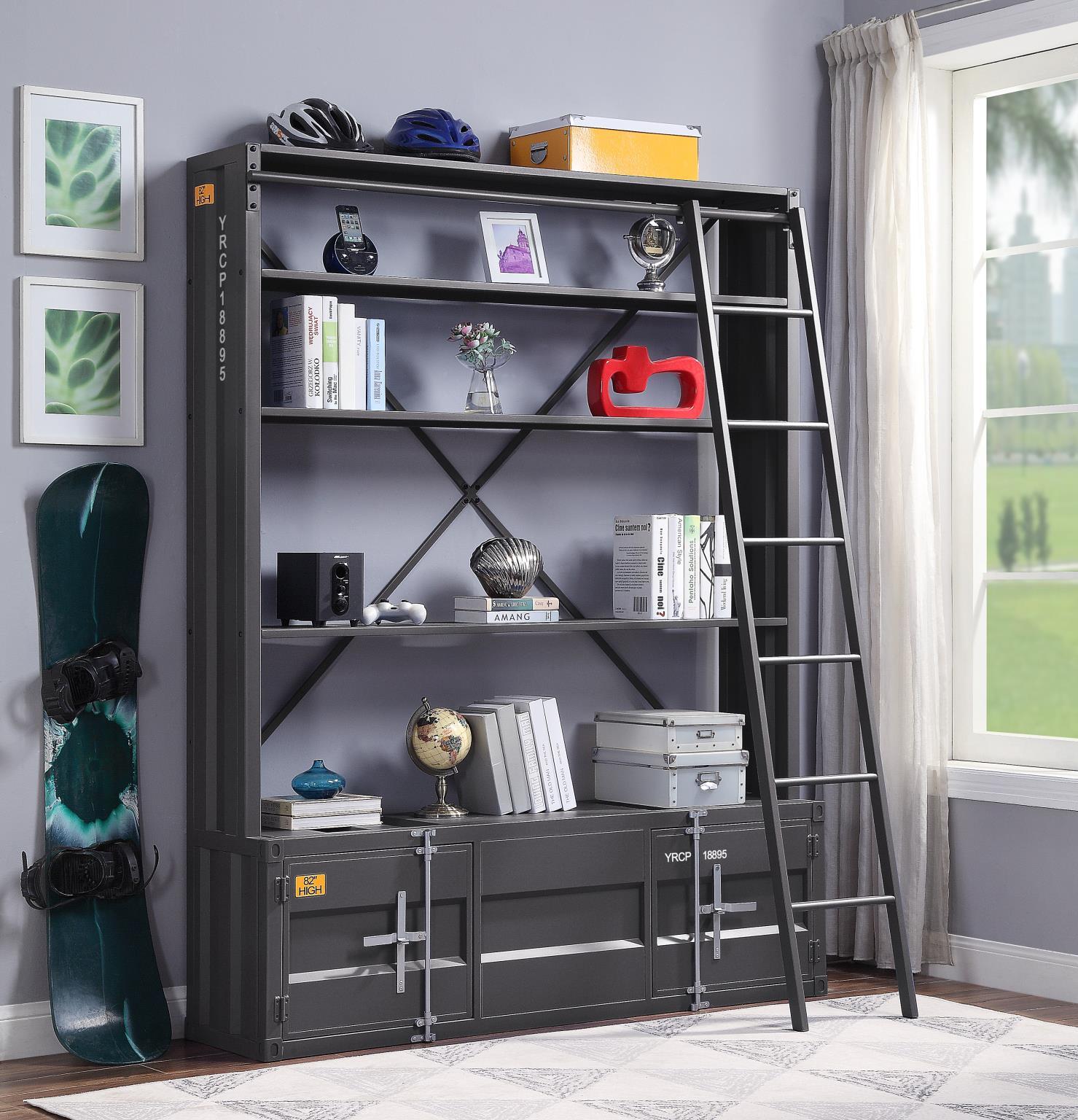 Gunmetal Bookshelf w/ Ladder