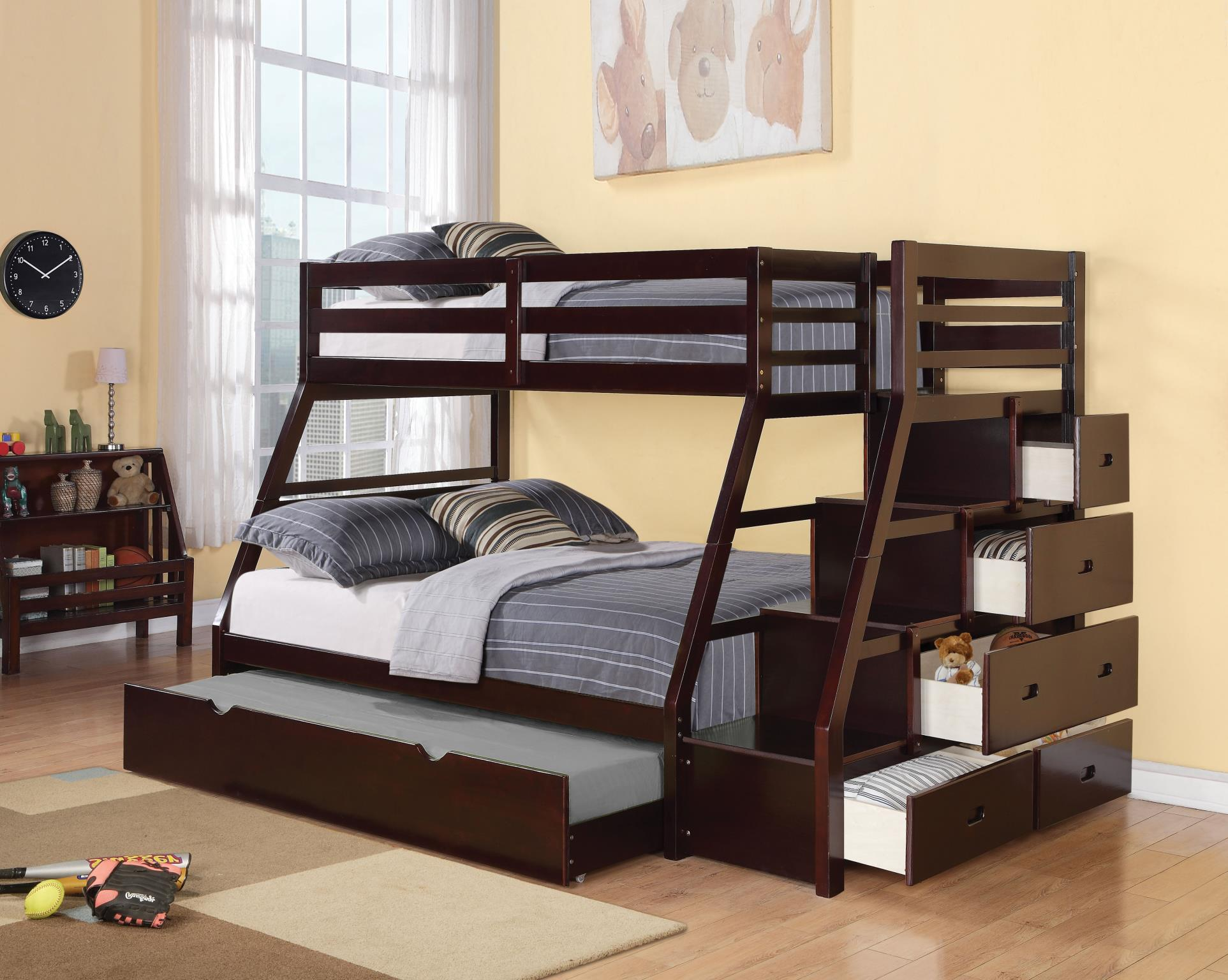 Picture of: Jason Twin Over Full Bunk Bed With Storage Ladder And Trundle