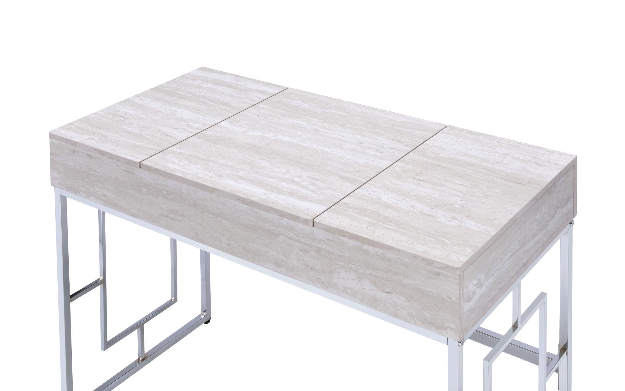 Natural White Vanity Desk Top Closed