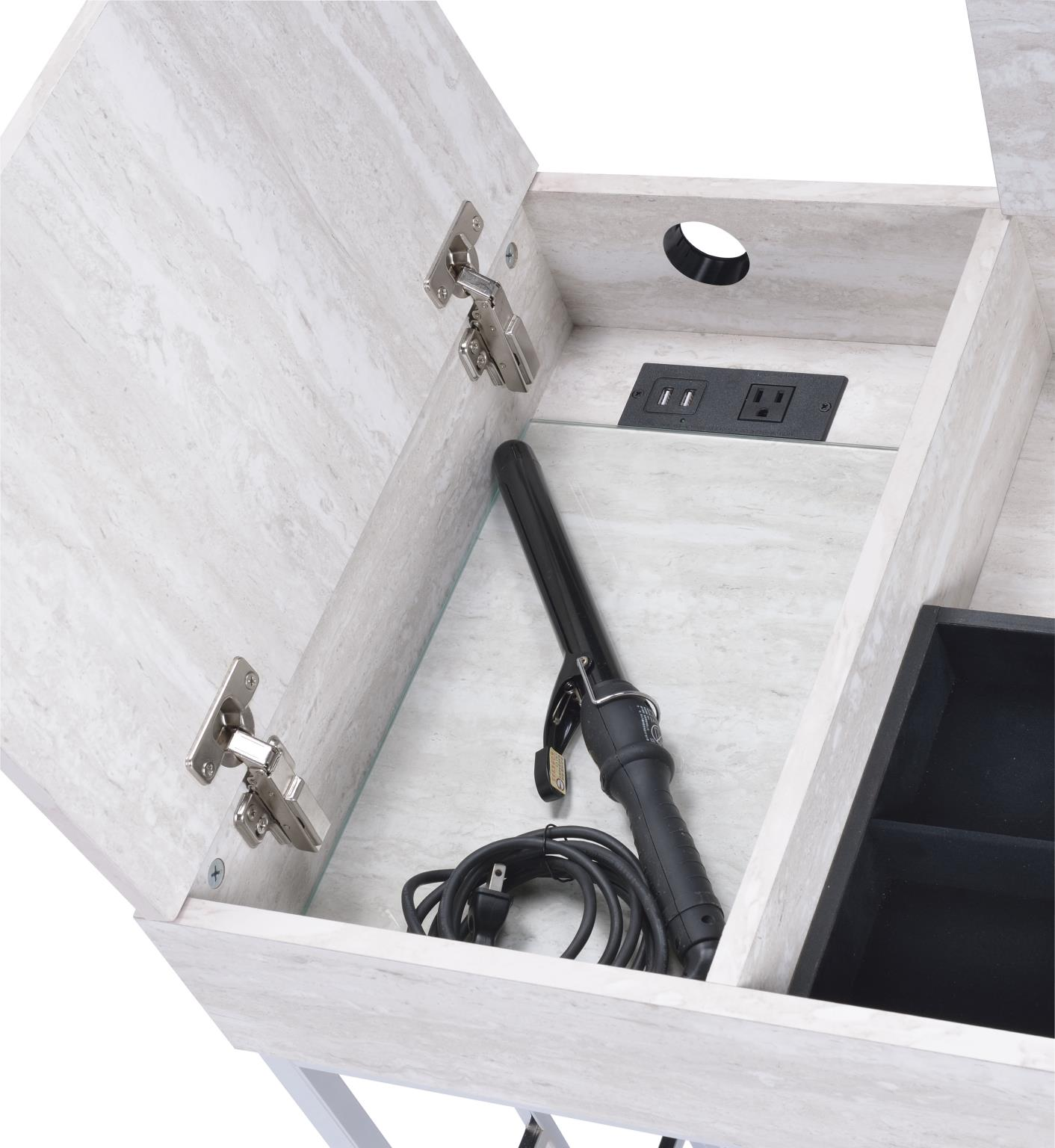 Natural White Vanity Desk Lift Top Storage Drawer