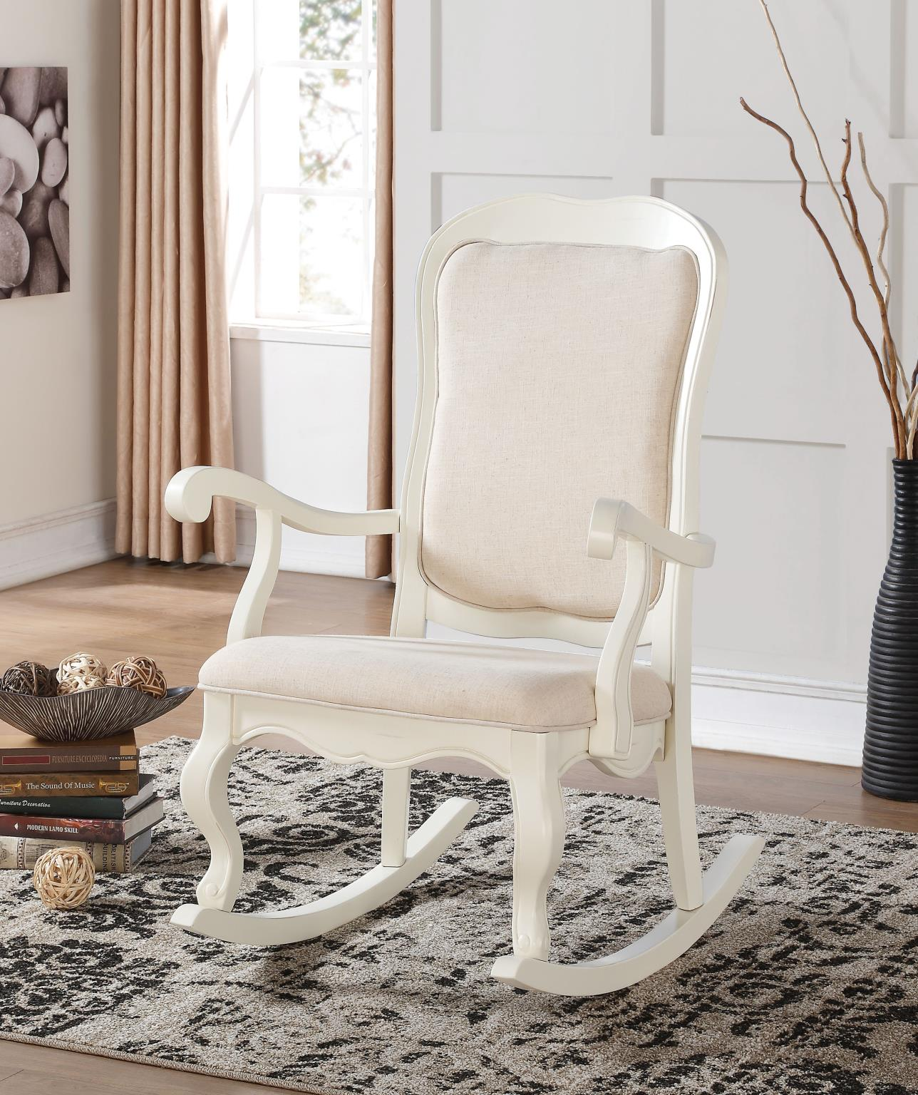 Picture of: Sharan Antique White Fabric Rocking Chair