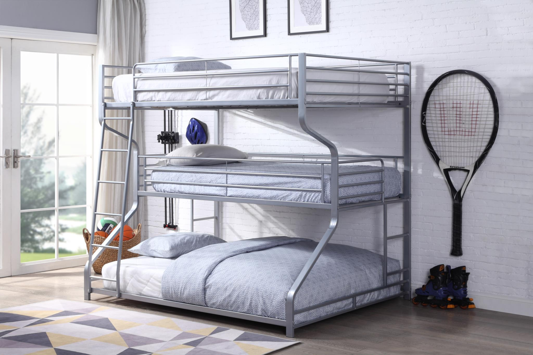 Silver Triple Bunk Bed
