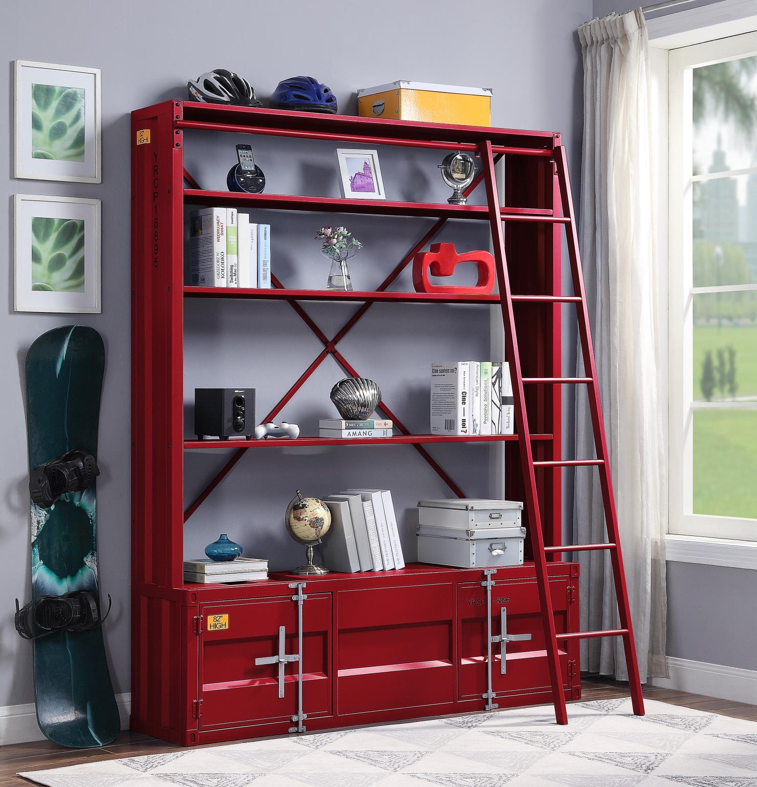 Red Bookshelf w/ Ladder