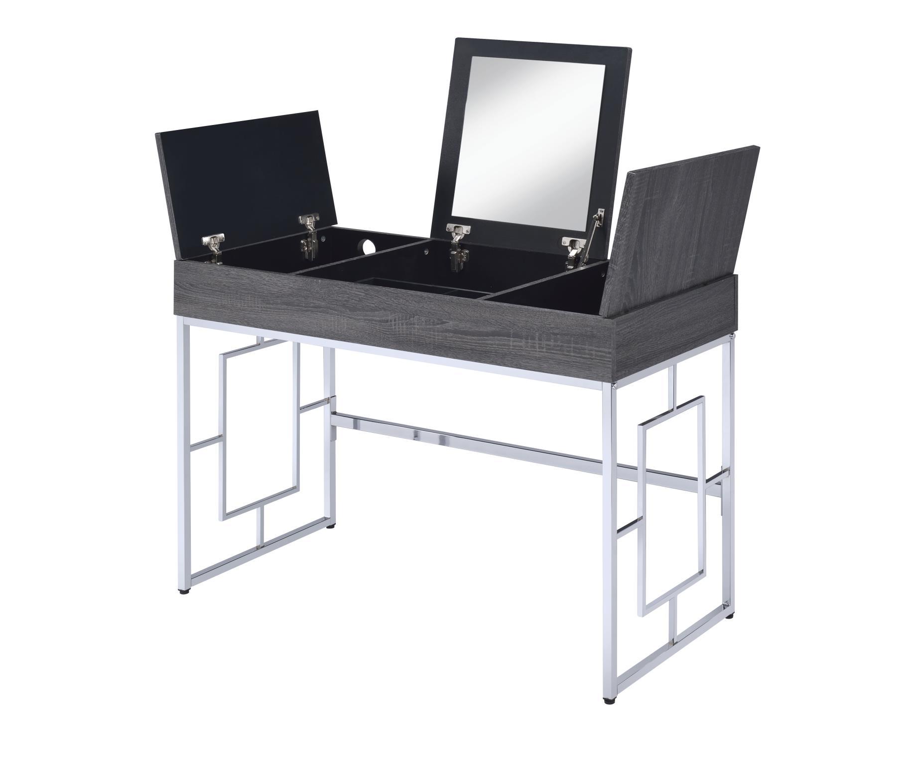 Black Oak Vanity Desk Lift Top Storage