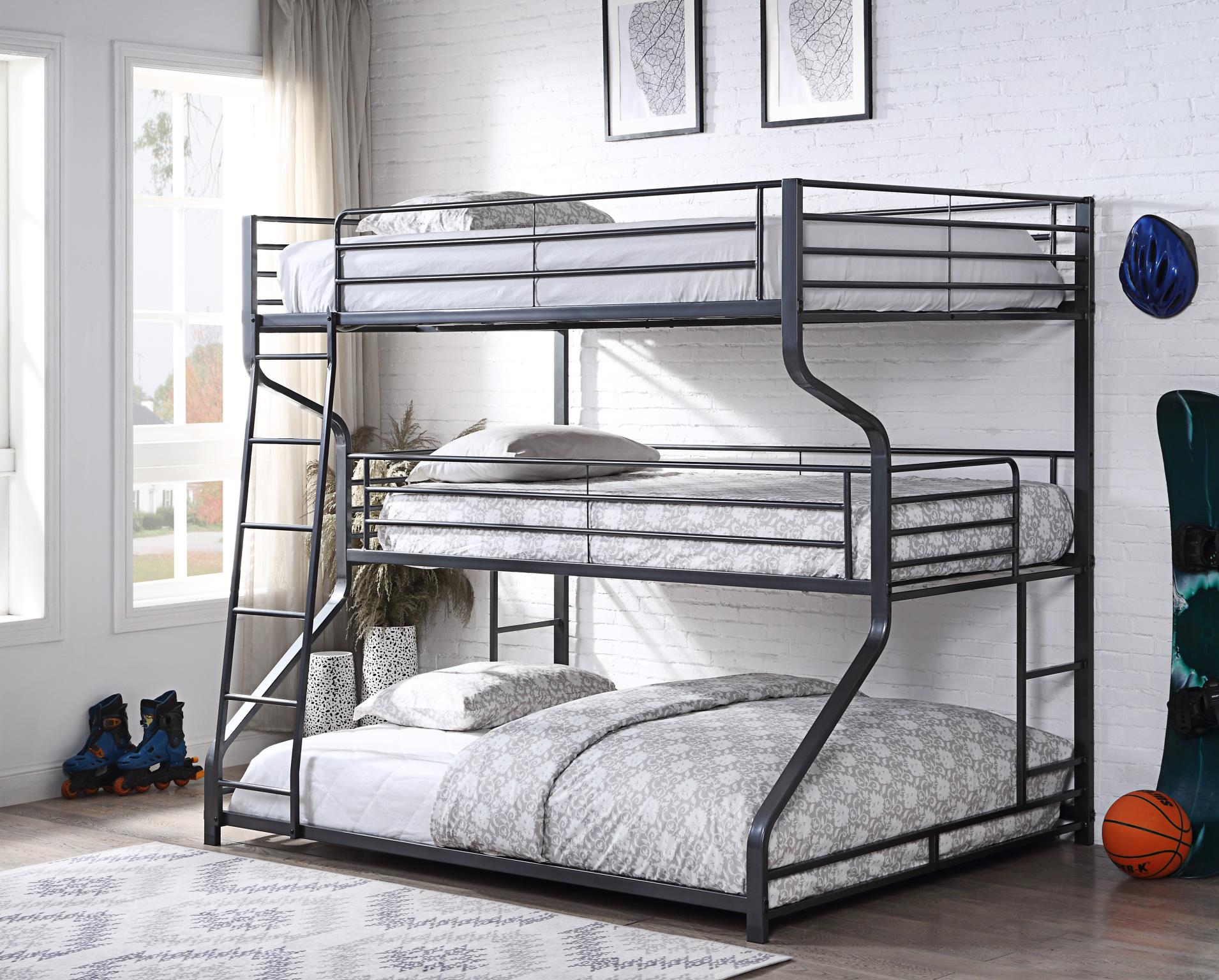 Gunmetal Triple Bunk Bed