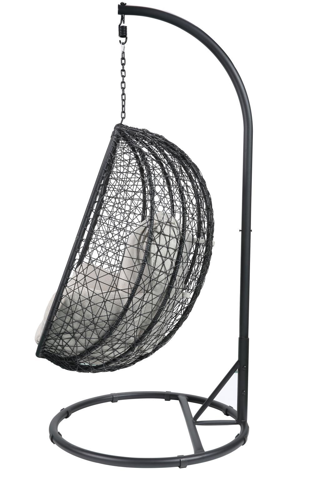 Black Wicker Patio Swing Chair Side