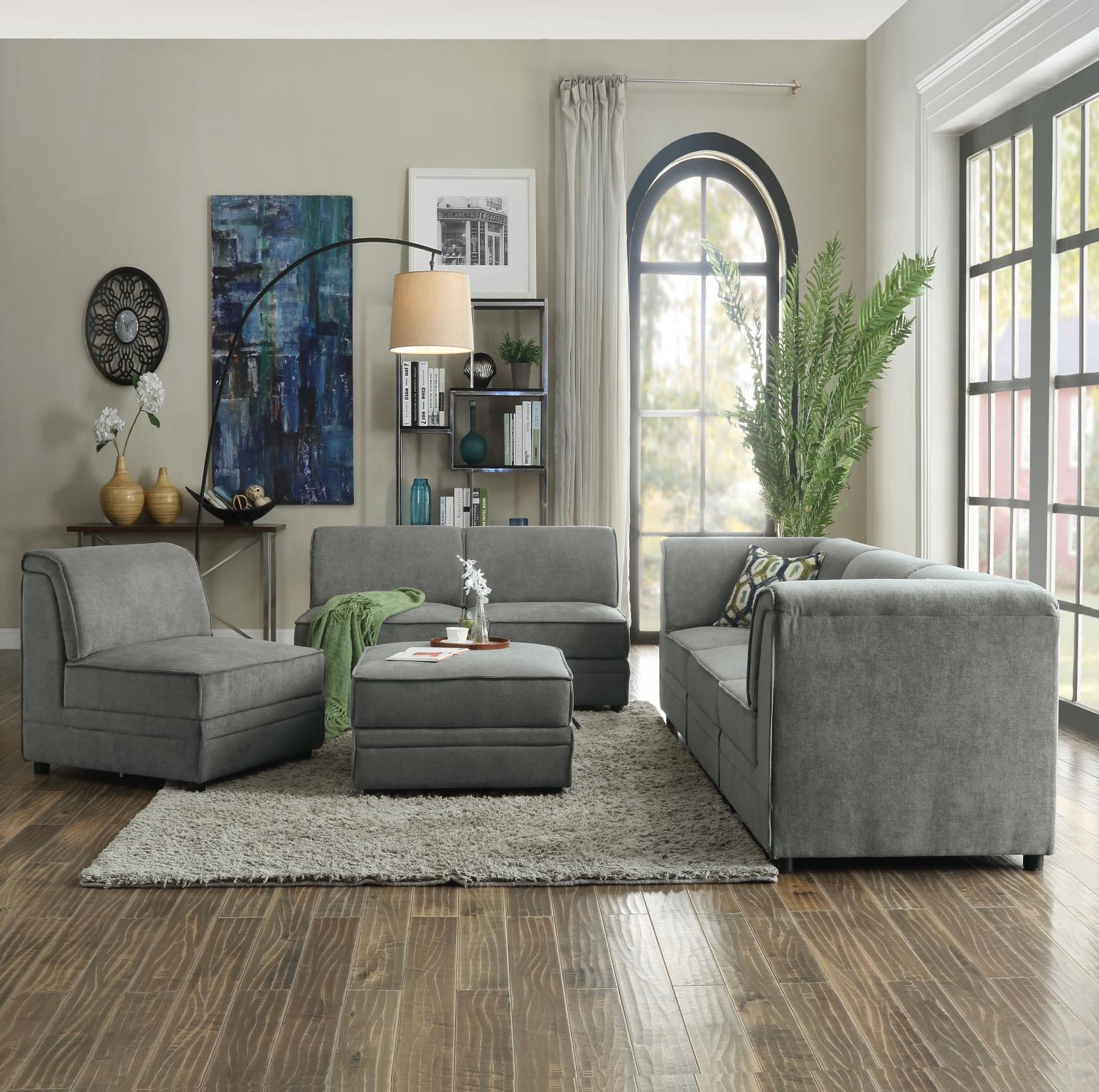 Complete Sofa Set w/ 4 Armless Chairs, 2 Corners, and 1 Ottoman