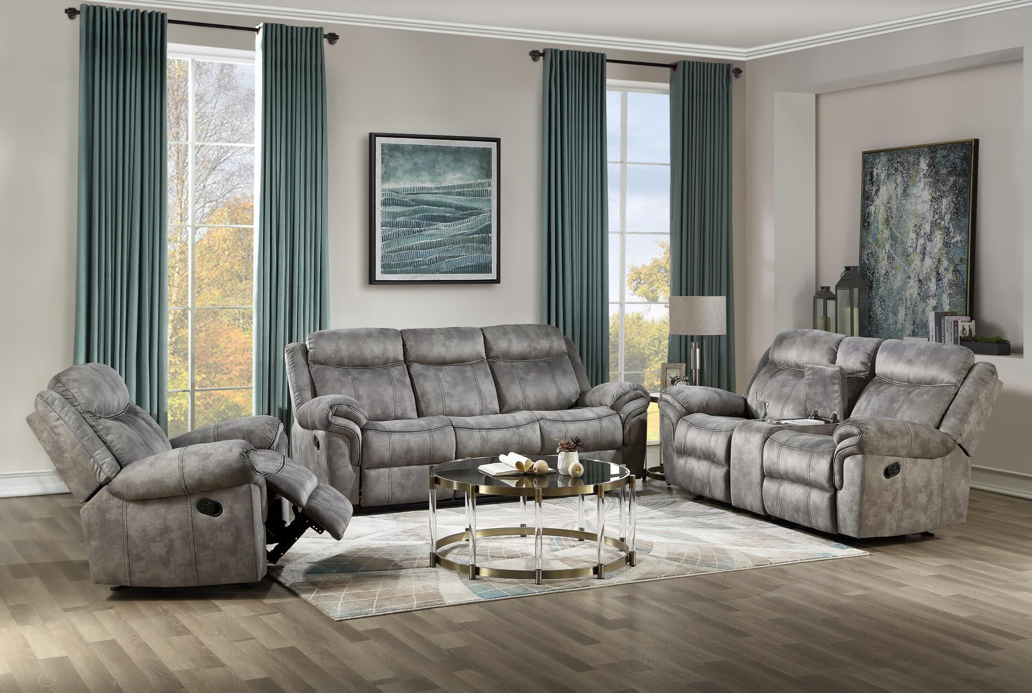 Two Tone Gray Complete Reclining Sofa Set