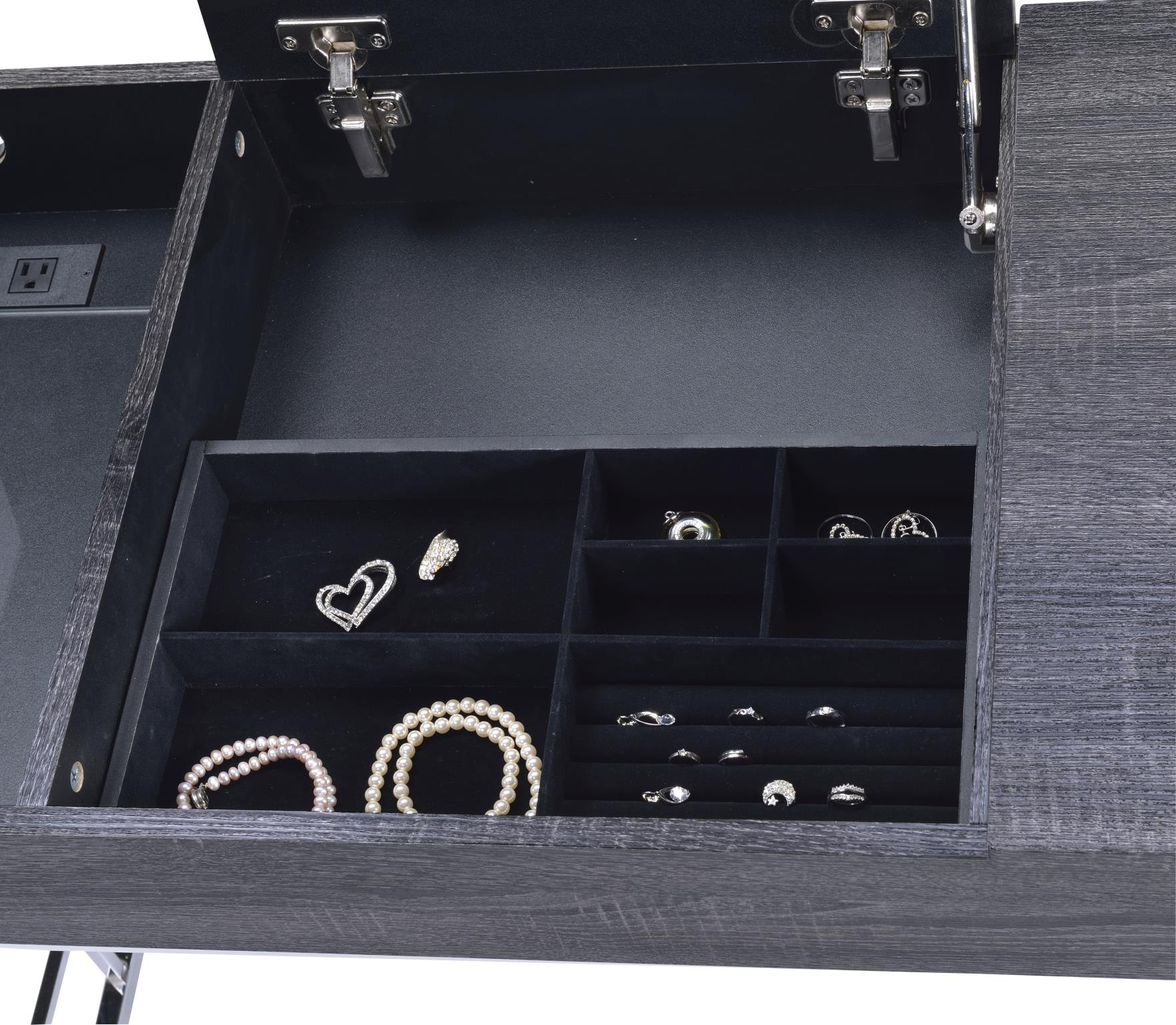 Black Oak Vanity Desk Lift Top Jewelry Drawer