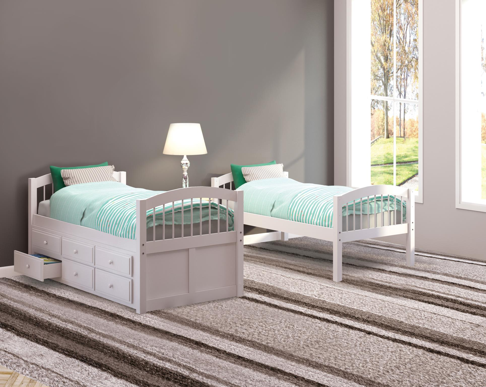 White Twin/Twin Bunk Beds Used Separately