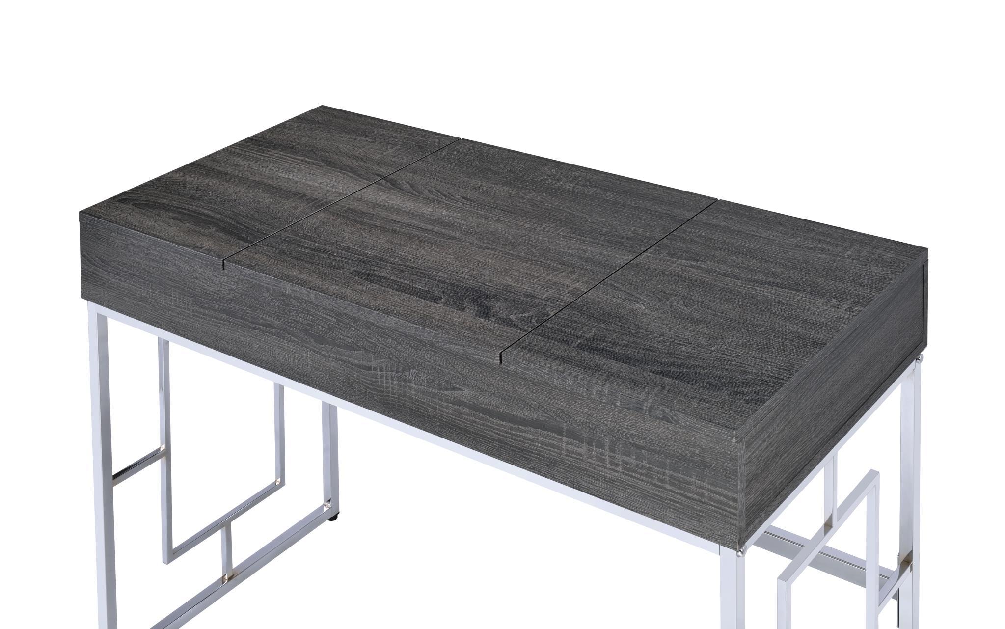 Black Oak Vanity Desk Top Closed