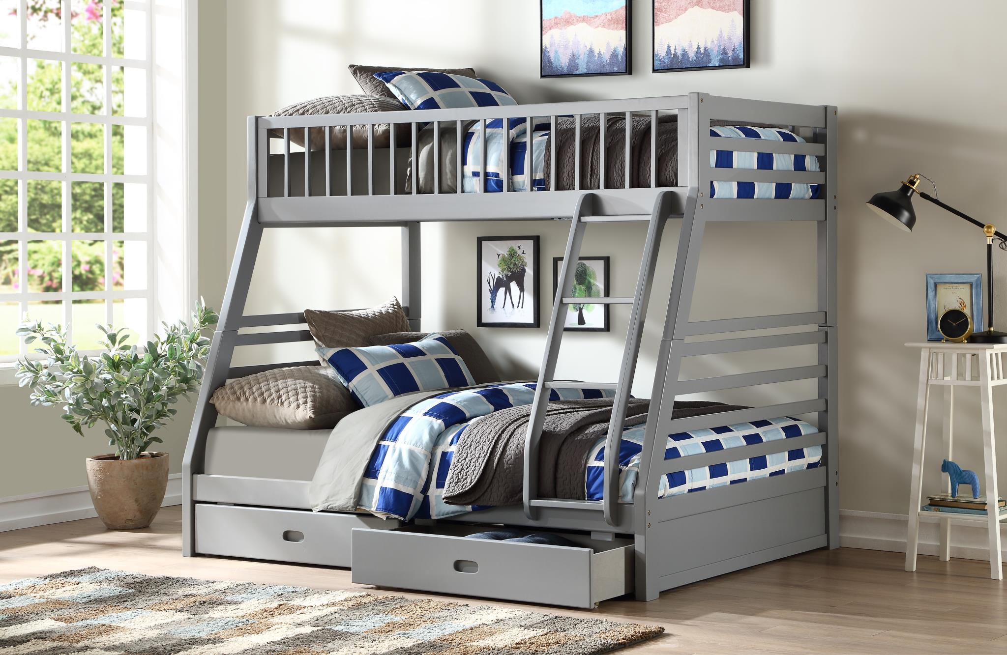 Gray Twin/Full Bunk Bed w/ 2 Drawers