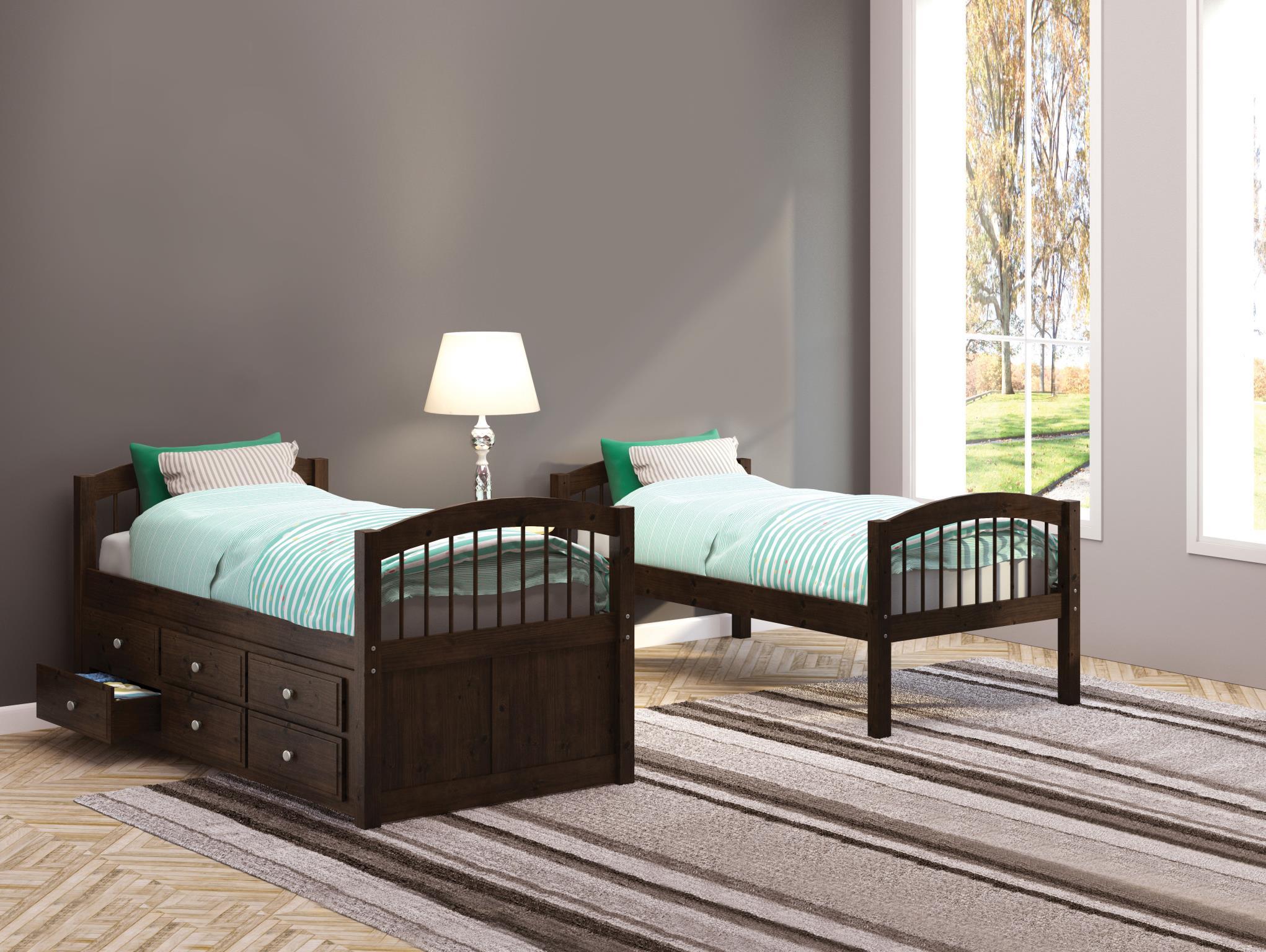 Espresso Twin/Twin Bunk Beds Used Separately
