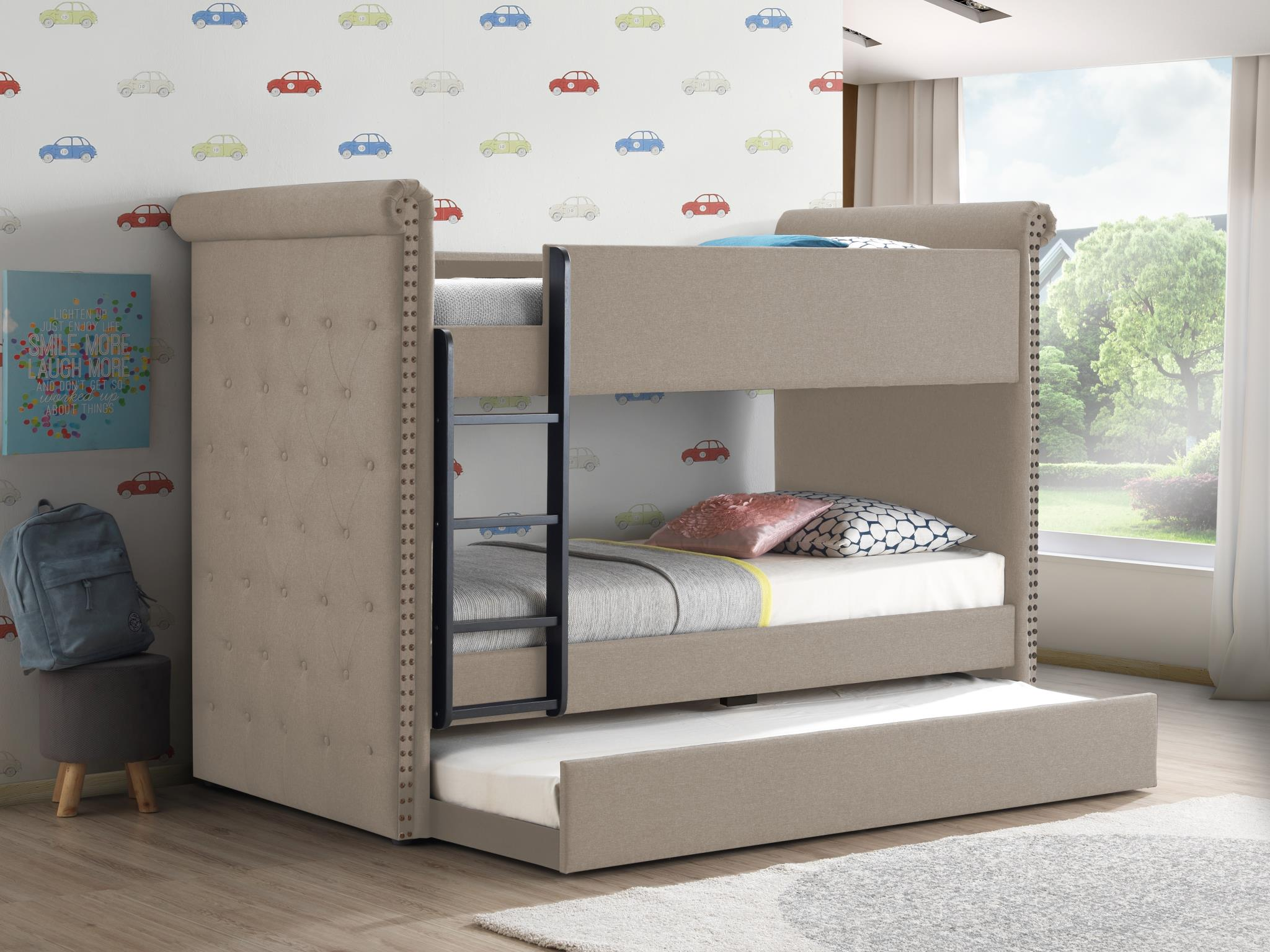 Beige Fabric Twin/Twin Bunk Bed w/ Trundle