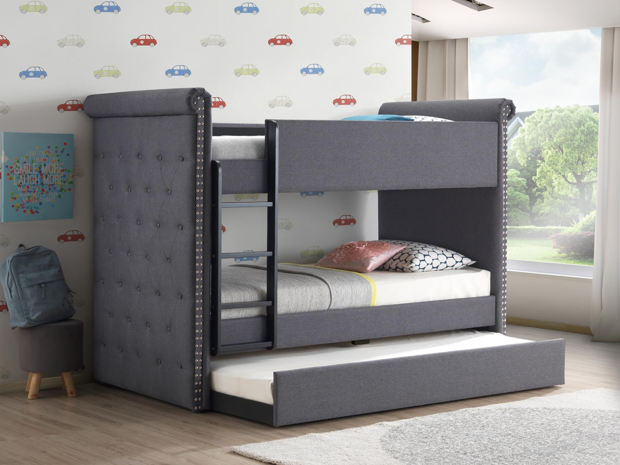 Gray Fabric Twin/Twin Bunk Bed w/ Trundle