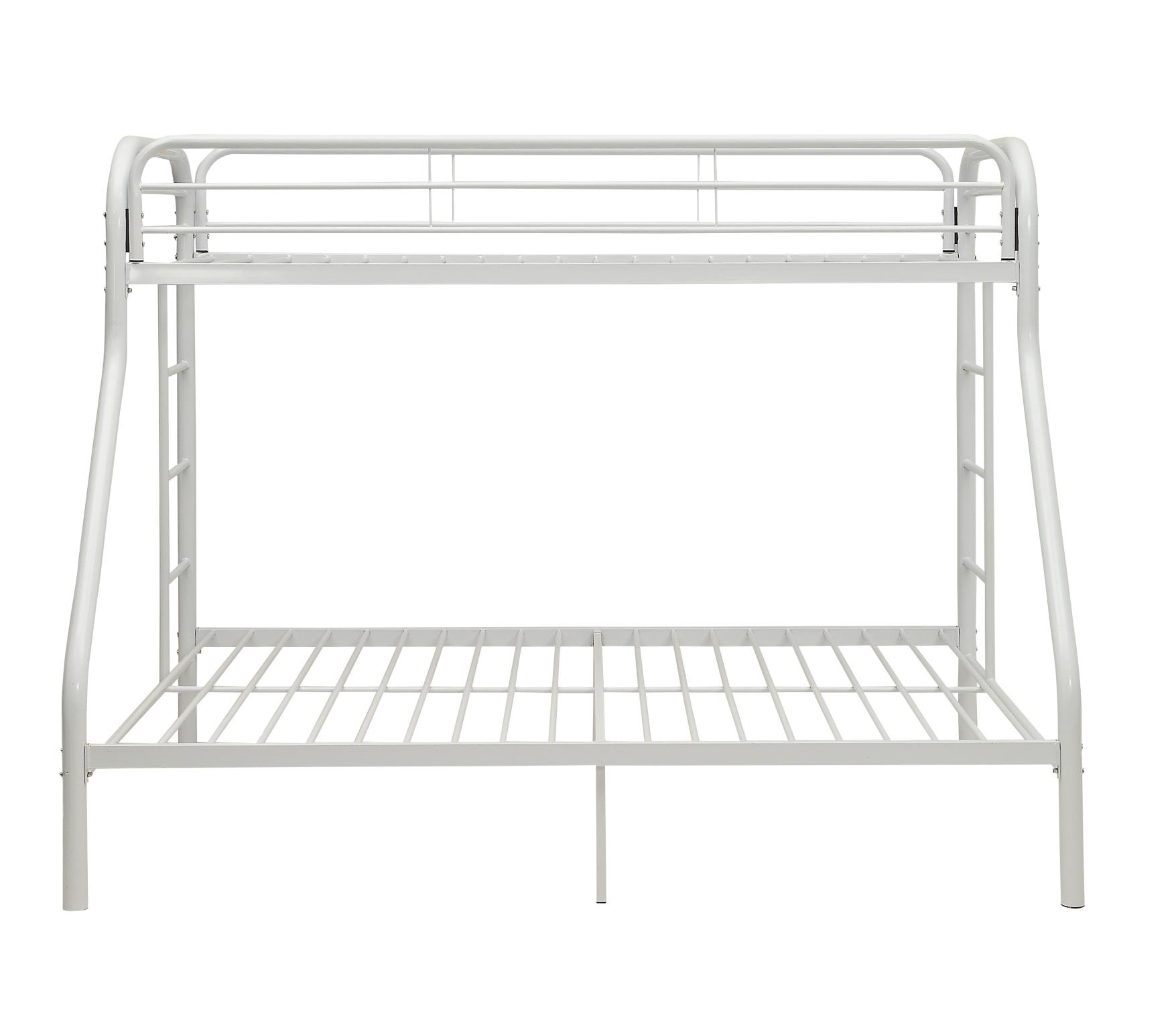 White Twin XL/Queen Bunk Bed Front