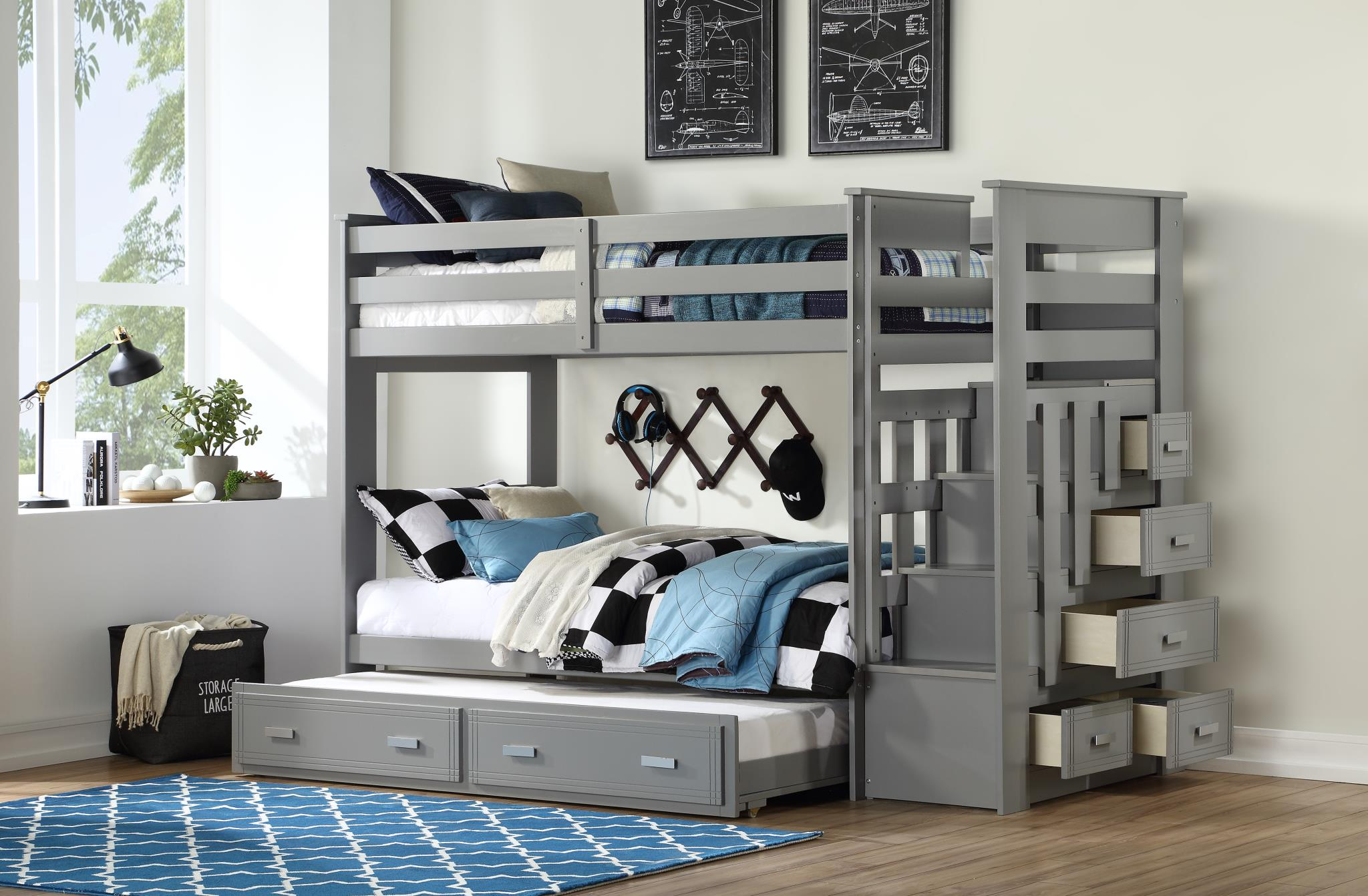 Gray Bunk Bed with Storage Ladder Drawers Opened