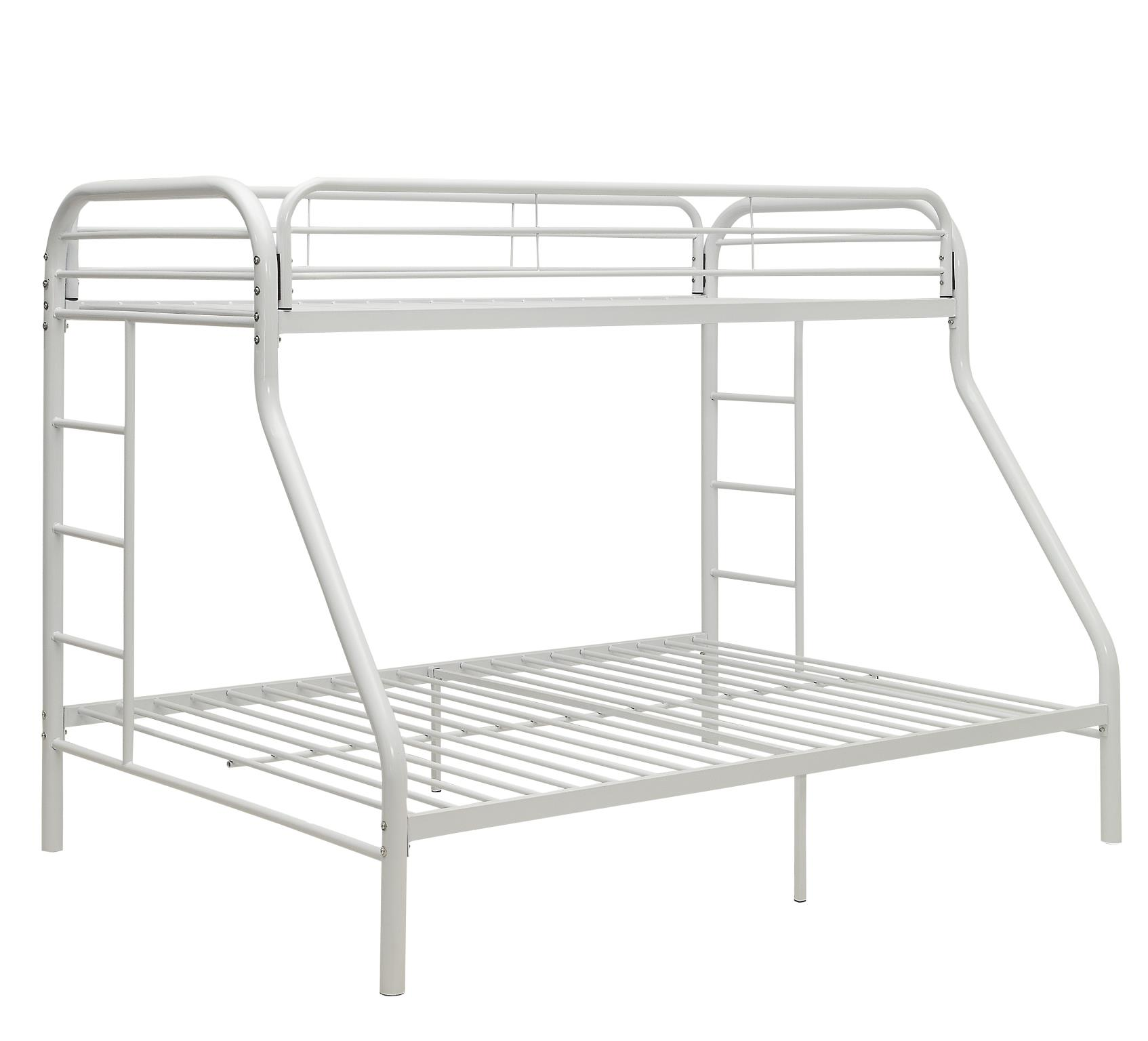 White Twin XL/Queen Bunk Bed Angle