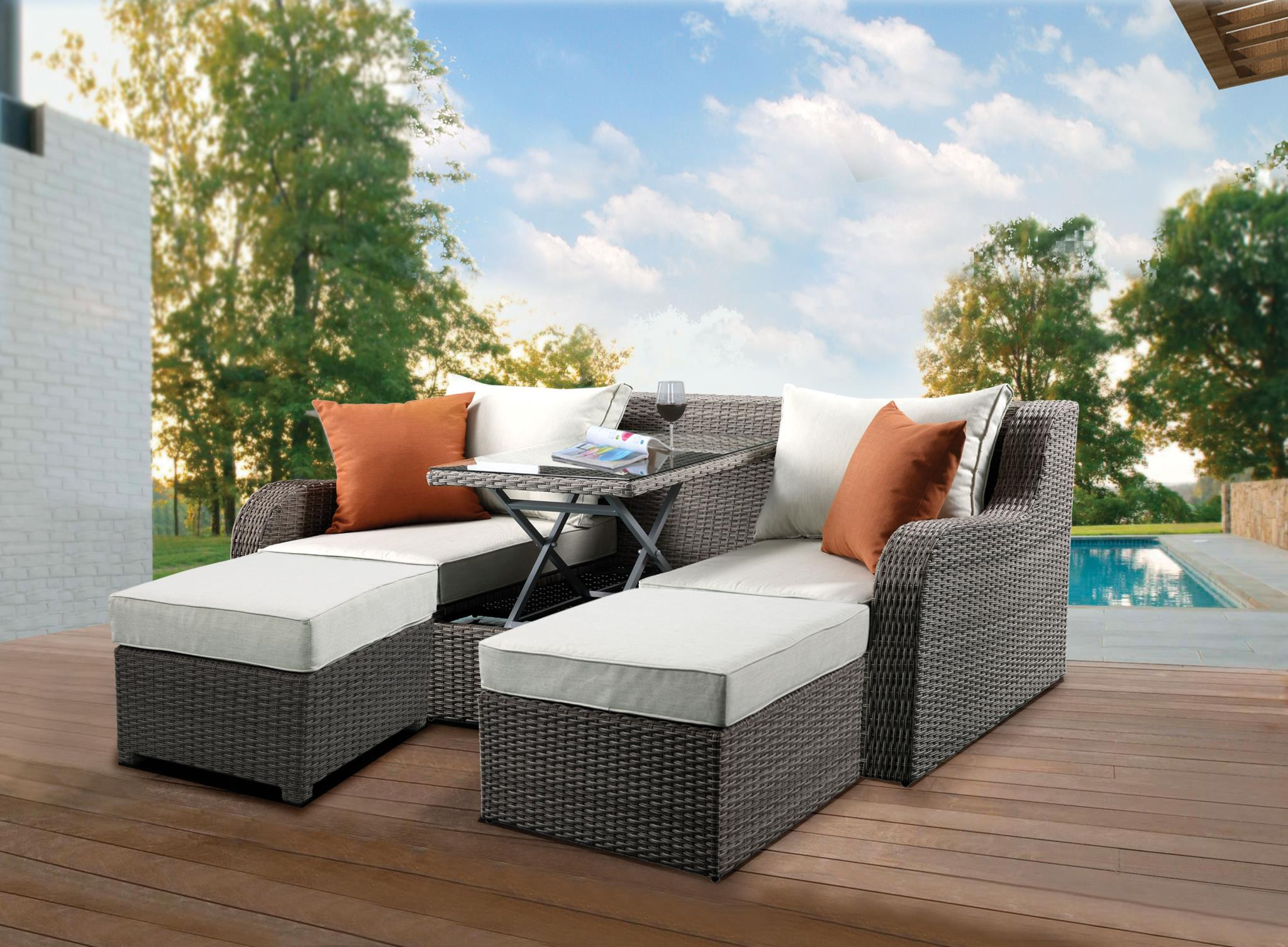 Salena Convertible Outdoor Sofa Bed With Lift Top Coffee Table