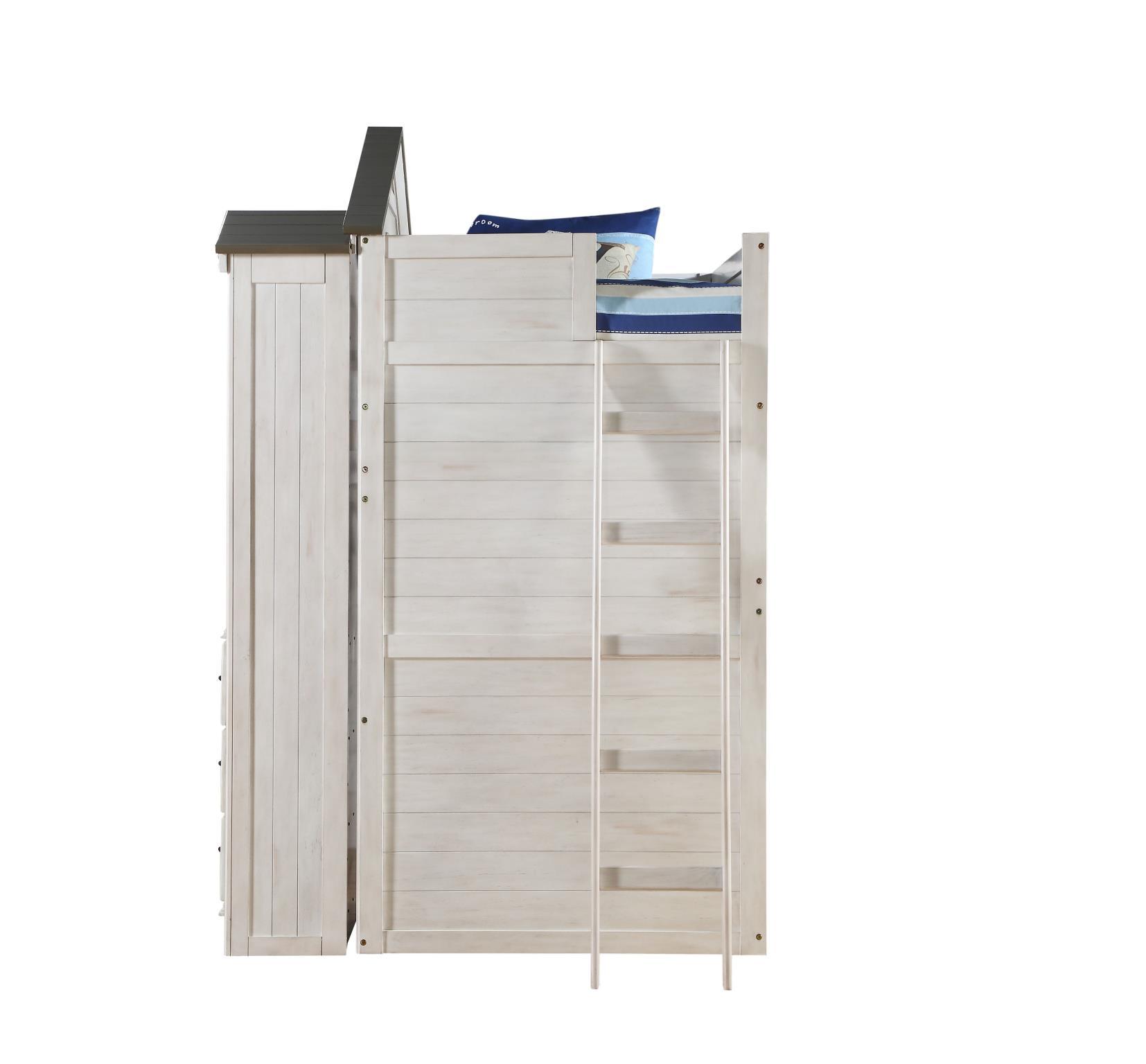 Treehouse Loft Bunk Bed Ladder Side w/ Bookcase