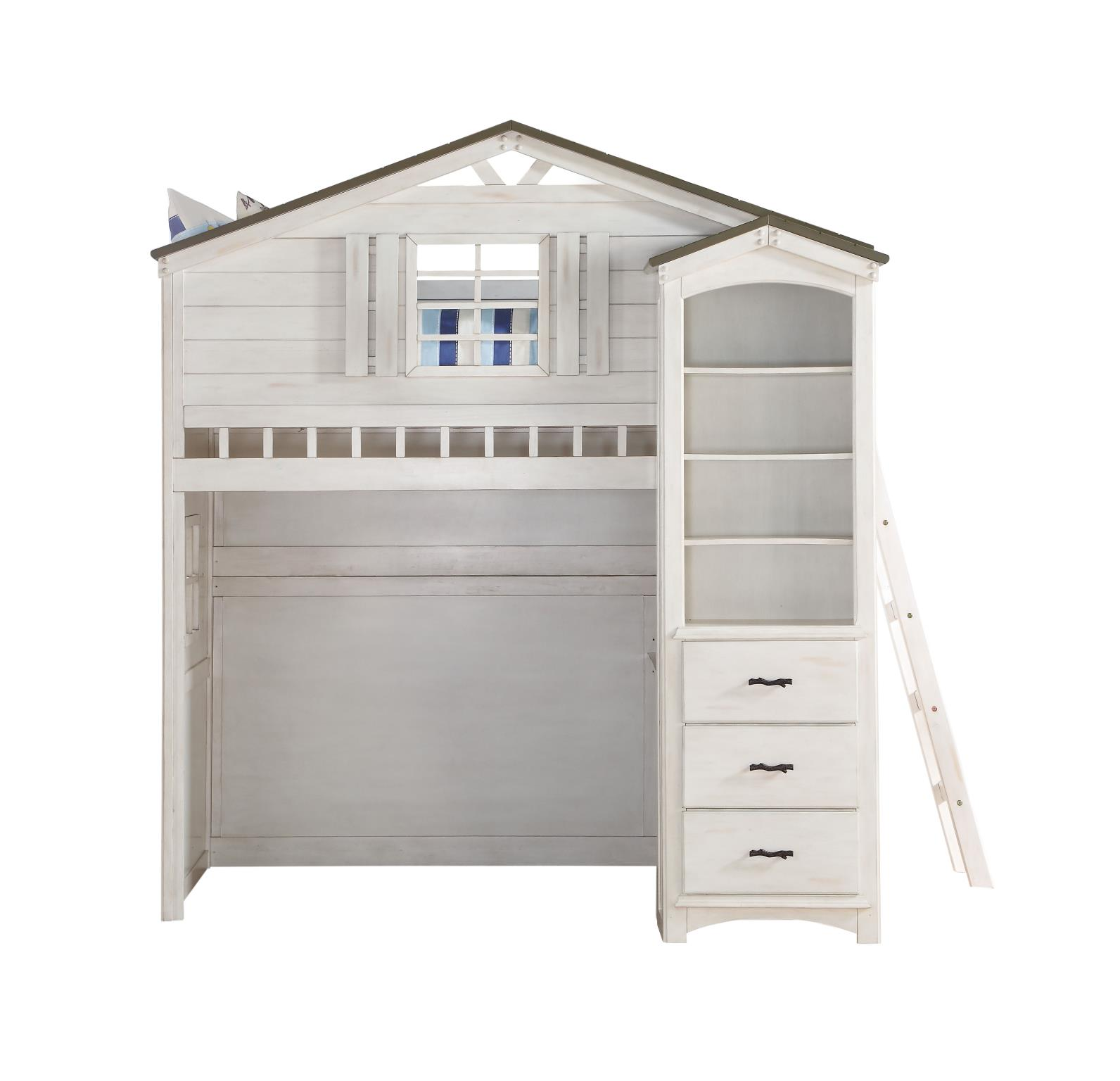 Treehouse Loft Bunk Bed Front w/ Bookcase
