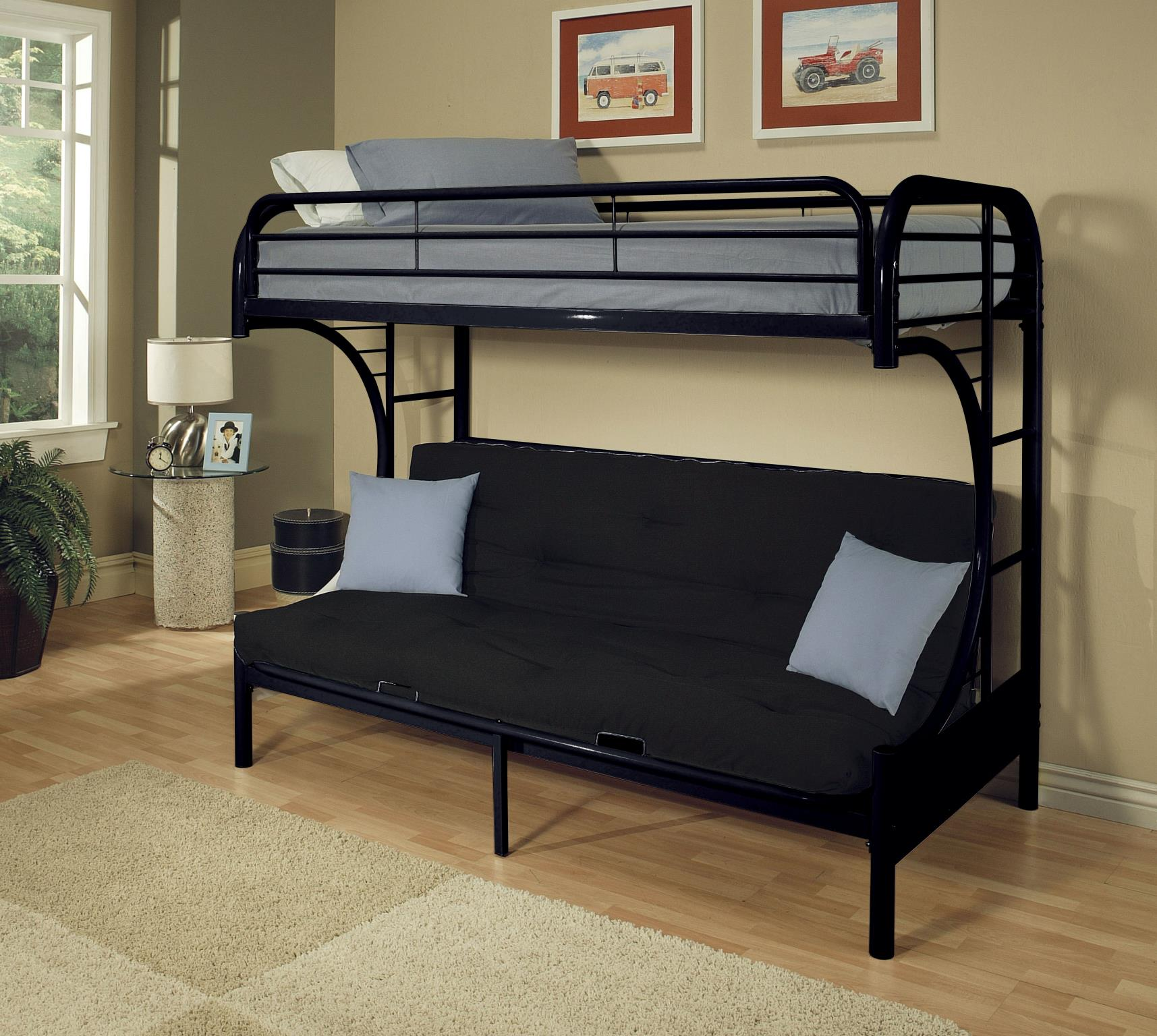 Black Twin XL/Queen Futon Bunk Bed