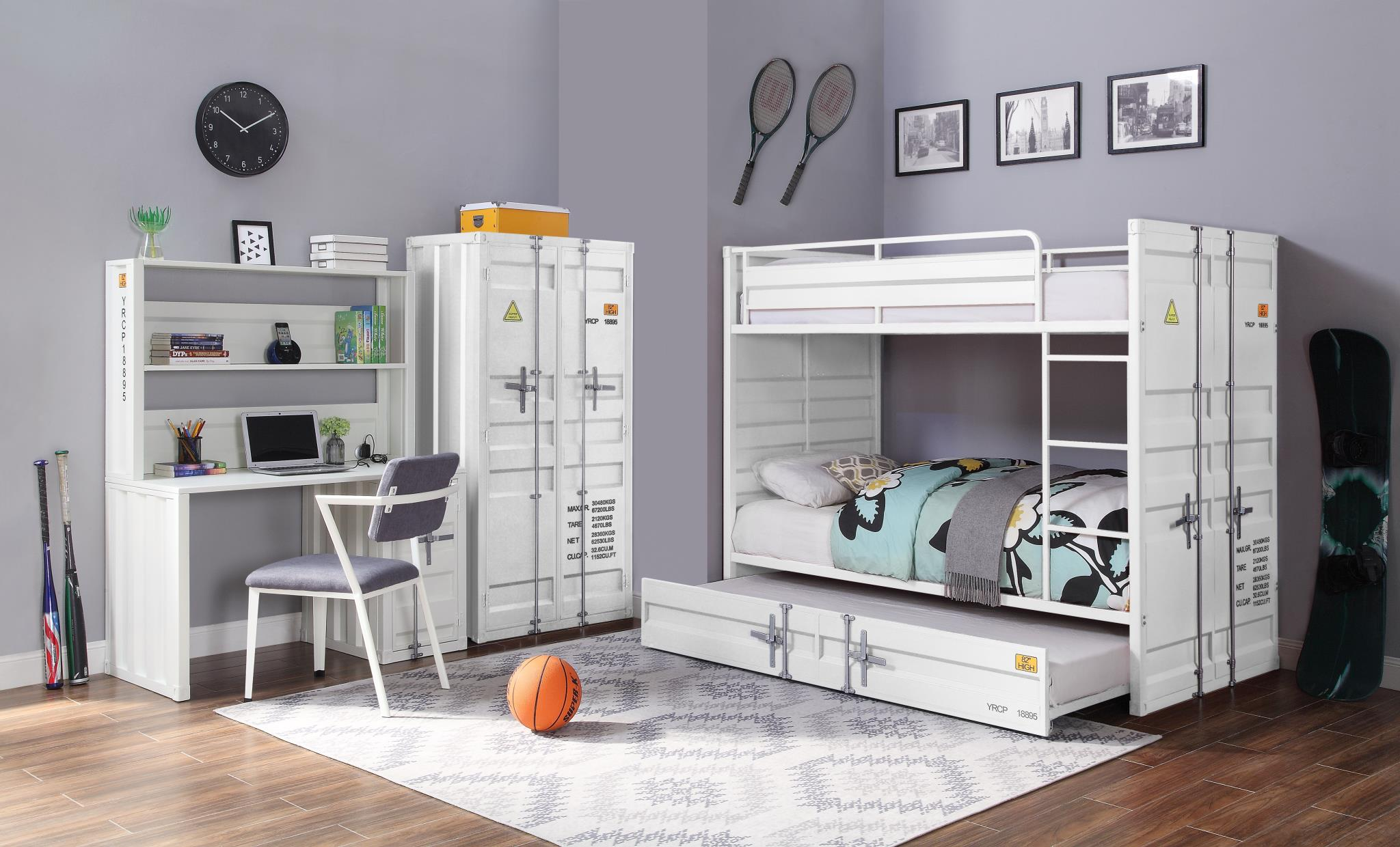 White Complete Industrial Bunk Bed Set