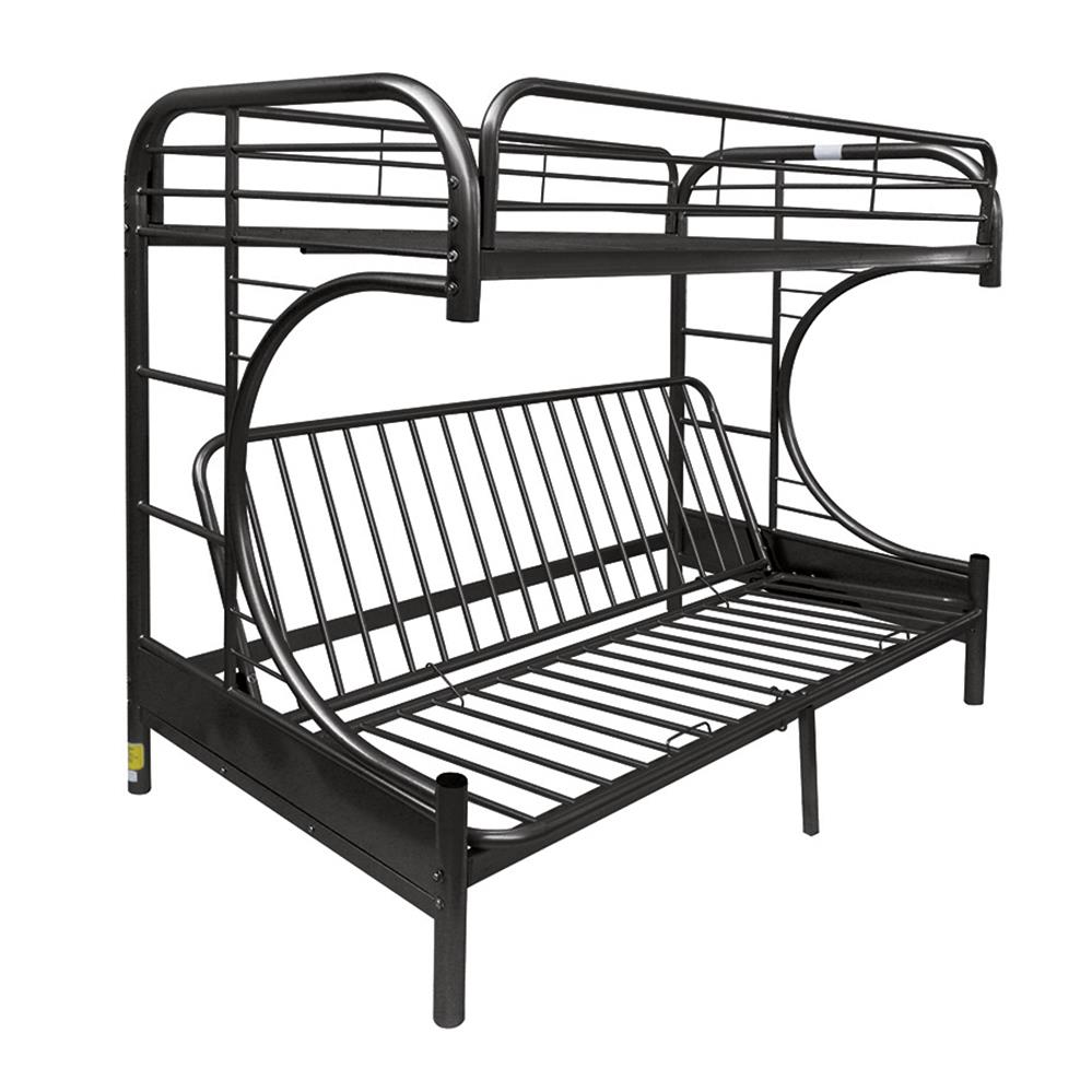 Black Twin XL/Queen Futon Bunk Bed Angle