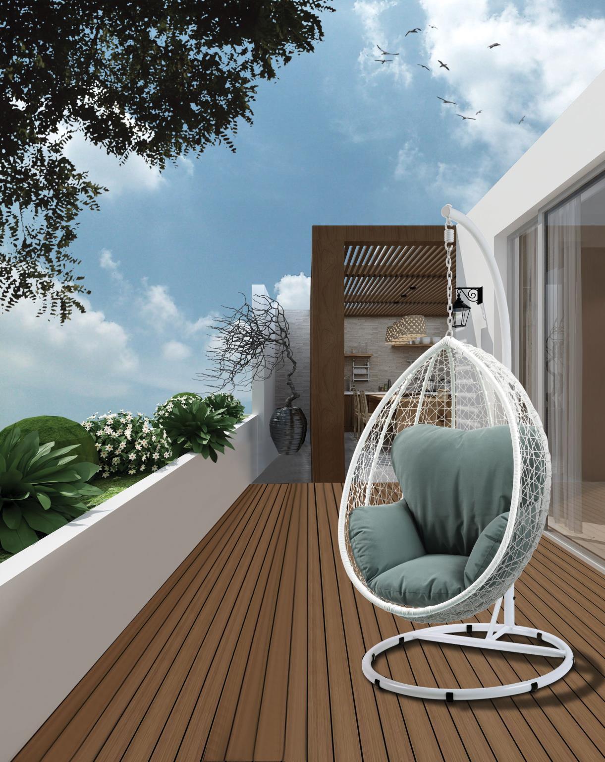 White Wicker Patio Swing Chair