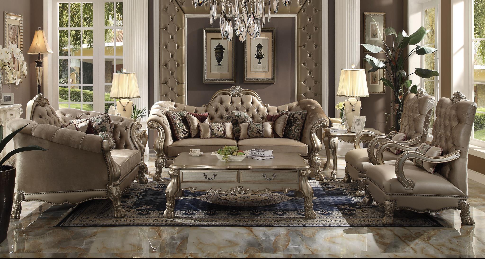 Bone Velvet Complete Sofa Set
