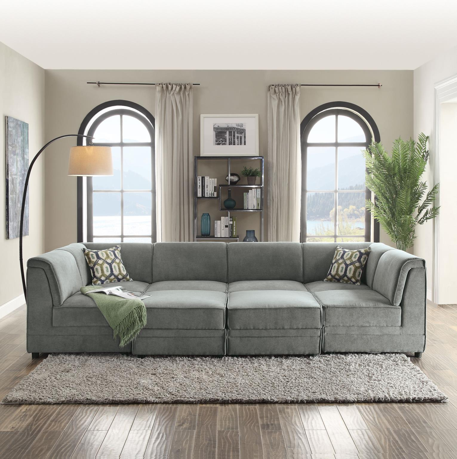 Complete Sectional Sofa w/ 4 Armless Chairs, 2 Corners, and 2 Ottomans