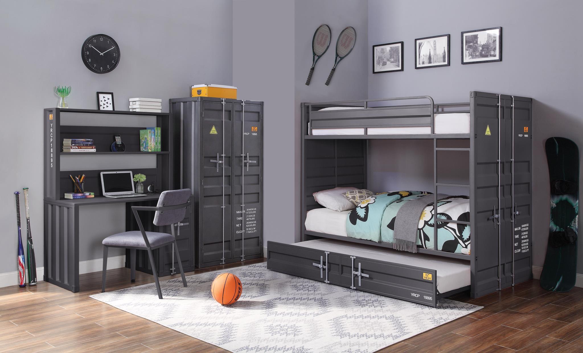 Gunmetal Complete Industrial Bunk Bed Set