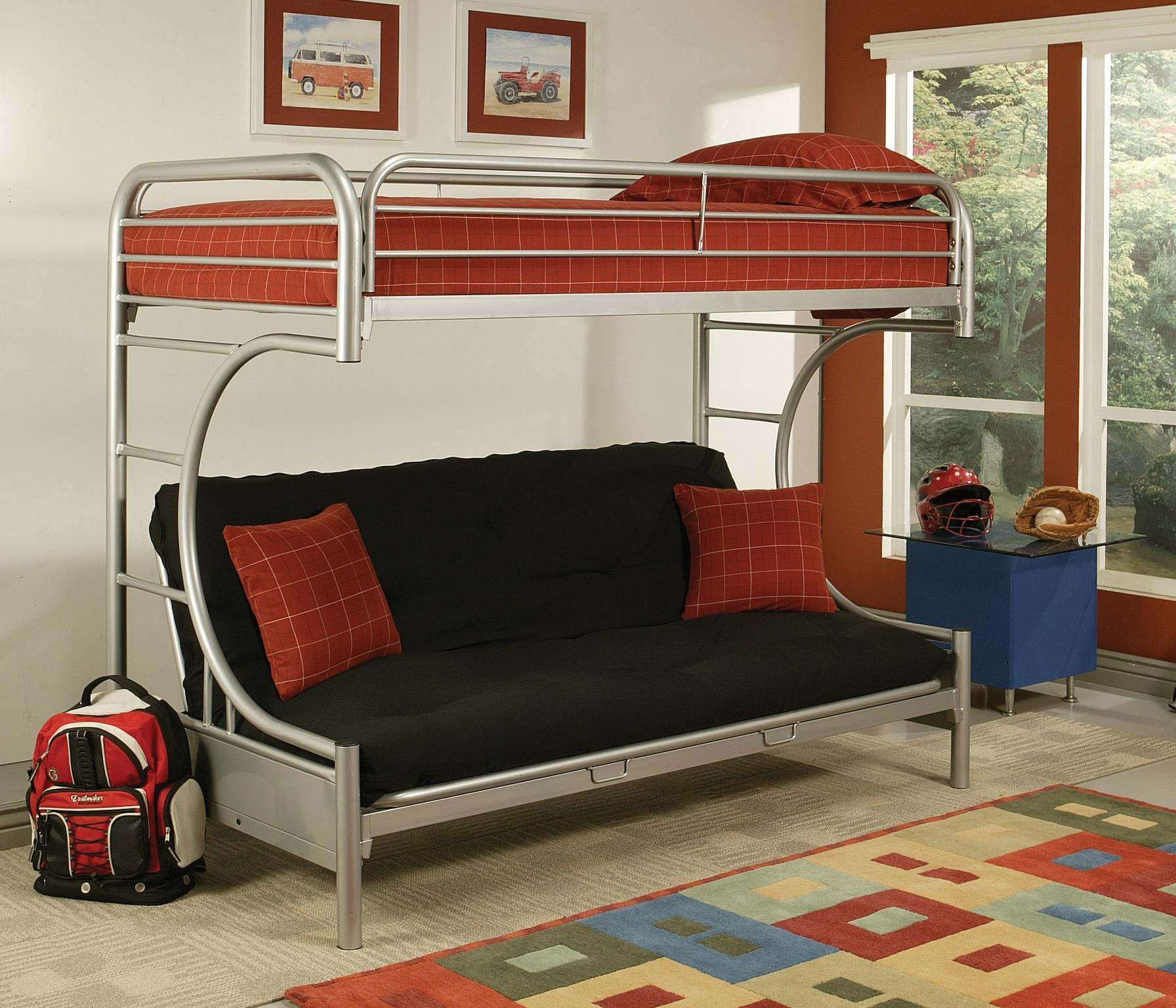 Silver Twin/Full Futon Bunk Bed